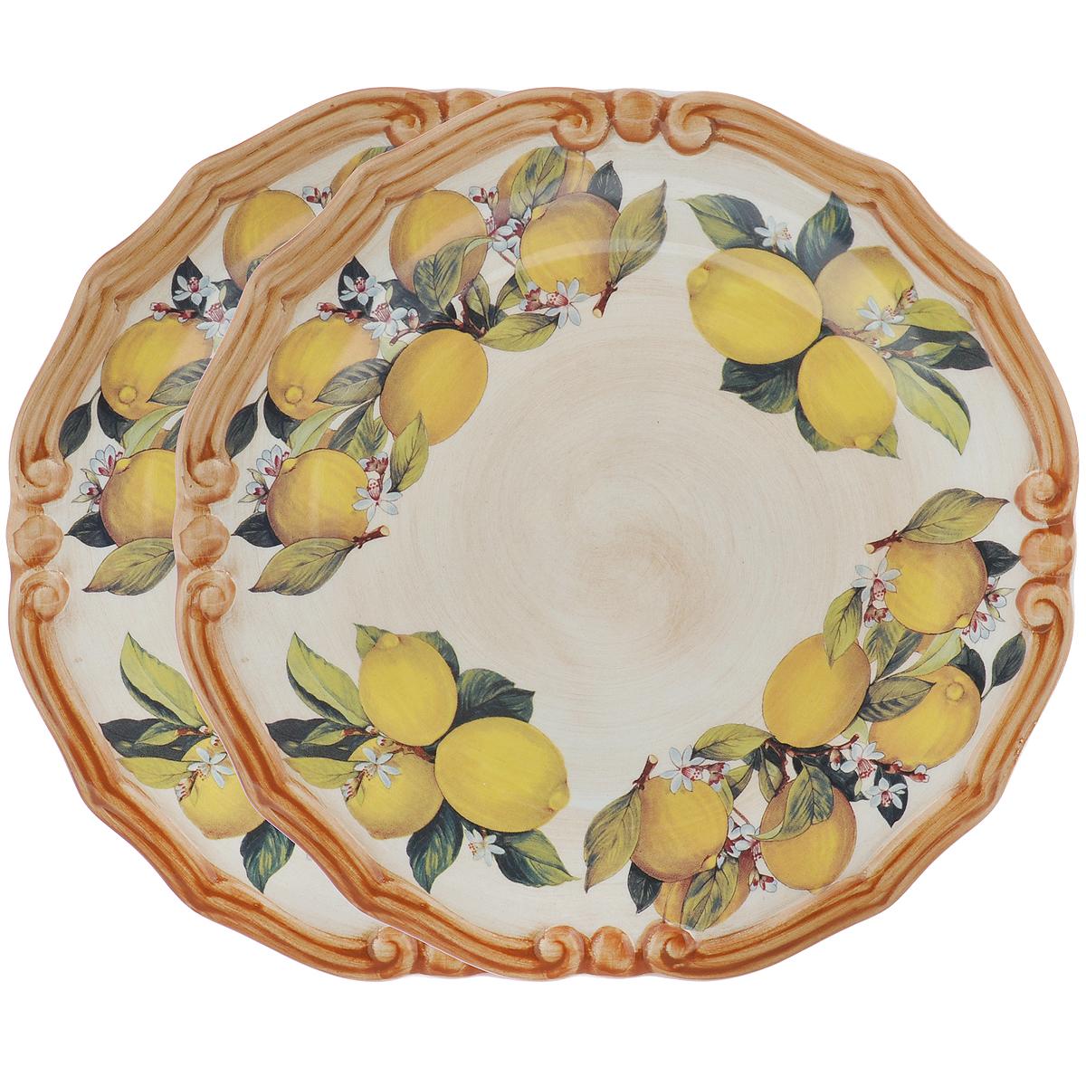 Набор десертных тарелок LCS Итальянские лимоны, диаметр 20 см, 2 штLCS353PF-CL-ALНабор LCS Итальянские лимоны состоит из двух десертных тарелок, выполненных из высококачественной глазурованной керамики. Изделия декорированы красочным изображением лимонов. Такие тарелки прекрасно оформят стол и порадуют вас лаконичным и ярким дизайном.