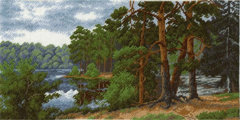Набор для вышивания крестом Hobby & Pro Лесное озеро, 32 х 16 см 653680590