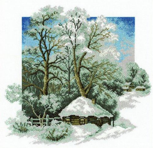 Набор для вышивания крестом Hobby & Pro Зима в деревне, 28 х 27 см 642819642819