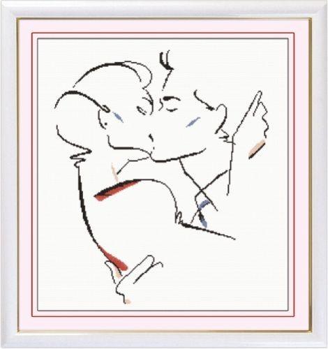 Набор для вышивания крестом Hobby & Pro Поцелуй, 35 х 42 см S-0317705094