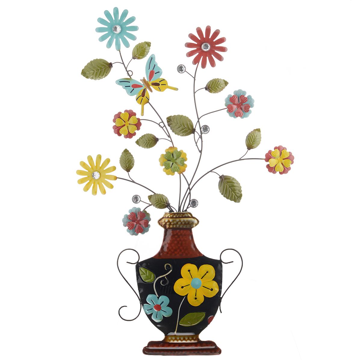 Панно декоративное настенное Molento Цветы в вазе. 576-058576-058Декоративное настенное панно Molento Цветы в вазе, изготовленное из металла, позволит вам украсить интерьер дома, рабочего кабинета или любого другого помещения оригинальным образом. Изделие выполнено в виде вазы с цветами. Ваза украшена красочным цветочным рисунком. Цветы оформлены фигуркой бабочки и декоративными серебристыми кристаллами. Панно имеет рельефную поверхность и оснащено специальными отверстиями для подвешивания. С таким панно вы сможете не просто внести в интерьер элемент оригинальности, но и создать атмосферу загадочности и изысканности.