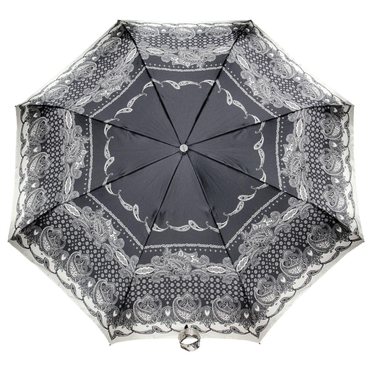 Зонт женский Doppler, автомат, 3 сложения, цвет: черный, слоновая кость. 74665GFGF74665GFGFСтильный автоматический зонт Doppler в 3 сложения даже в ненастную погоду позволит вам оставаться стильной и элегантной. Каркас зонта из стали состоит из восьми карбоновых спиц, оснащен удобной рукояткой. Зонт имеет автоматический механизм сложения: купол открывается и закрывается нажатием кнопки на рукоятке, стержень складывается вручную до характерного щелчка, благодаря чему открыть и закрыть зонт можно одной рукой, что чрезвычайно удобно при входе в транспорт или помещение. Купол зонта выполнен из прочного сатина и оформлен изображением оригинального орнамента. Закрытыый купол фиксируется хлястиком на кнопке. На рукоятке для удобства есть небольшой шнуро-петляк, позволяющий надеть зонт на руку тогда, когда это будет необходимо. К зонту прилагается чехол.