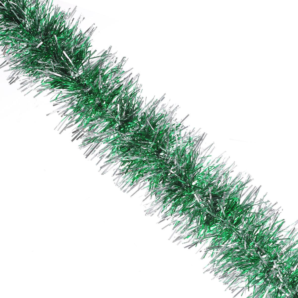 Мишура новогодняя Sima-land, цвет: серебристый, зеленый, диаметр 7 см, длина 150 см. 775876775876Мишура новогодняя Sima-land, выполненная из двухцветной фольги, поможет вам украсить свой дом к предстоящим праздникам. Мишура армирована, то есть имеет проволоку внутри и способна сохранять приданную ей форму. Новогодняя елка с таким украшением станет еще наряднее. Новогодней мишурой можно украсить все, что угодно - елку, квартиру, дачу, офис - как внутри, так и снаружи. Можно сложить новогодние поздравления, буквы и цифры, мишурой можно украсить и дополнить гирлянды, можно выделить дверные колонны, оплести дверные проемы. Коллекция декоративных украшений из серии Зимнее волшебство принесет в ваш дом ни с чем несравнимое ощущение праздника! Создайте в своем доме атмосферу тепла, веселья и радости, украшая его всей семьей.