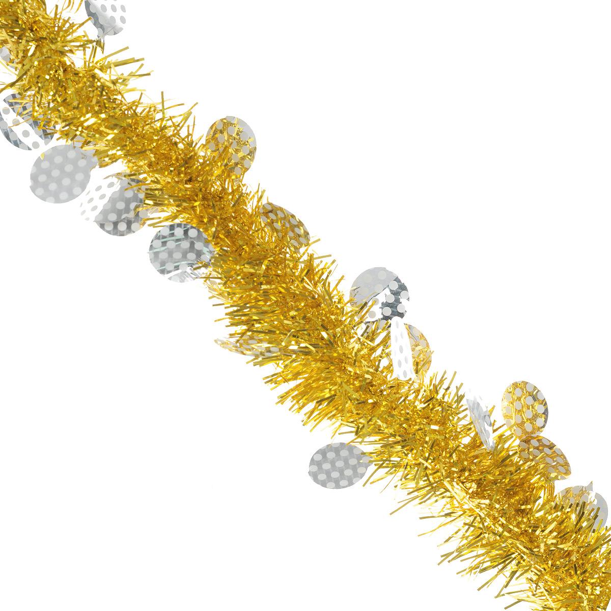 Мишура новогодняя Sima-land, цвет: золотистый, серебристый, диаметр 6 см, длина 200 см. 825975825975Пушистая новогодняя мишура Sima-land, выполненная из двухцветной фольги, поможет вам украсить свой дом к предстоящим праздникам. А новогодняя елка с таким украшением станет еще наряднее. Мишура армирована, то есть имеет проволоку внутри и способна сохранять приданную ей форму. Новогодней мишурой можно украсить все, что угодно - елку, квартиру, дачу, офис - как внутри, так и снаружи. Можно сложить новогодние поздравления, буквы и цифры, мишурой можно украсить и дополнить гирлянды, можно выделить дверные колонны, оплести дверные проемы.