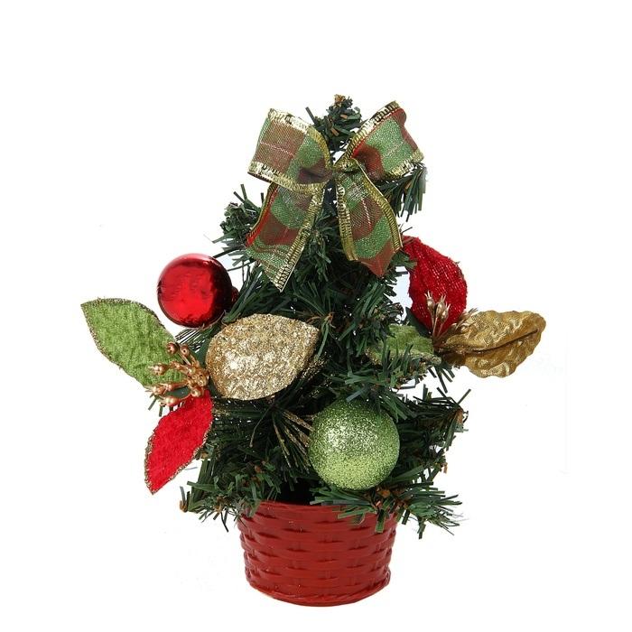 Декоративное украшение Sima-land Новогодняя елочка, цвет: зеленый, высота 20 см. 813183813183Декоративное украшение, выполненное из пластика - мини-елочка в пластиковом горшке для оформления интерьера к Новому году. Ее не нужно ни собирать, ни наряжать, зато настроение праздника она создает очень быстро. Елка украшена шариками, текстильными бантами, листочками, веточками. Елка украсит интерьер вашего дома или офиса к Новому году и создаст теплую и уютную атмосферу праздника. Откройте для себя удивительный мир сказок и грез. Почувствуйте волшебные минуты ожидания праздника, создайте новогоднее настроение вашим дорогим и близким.