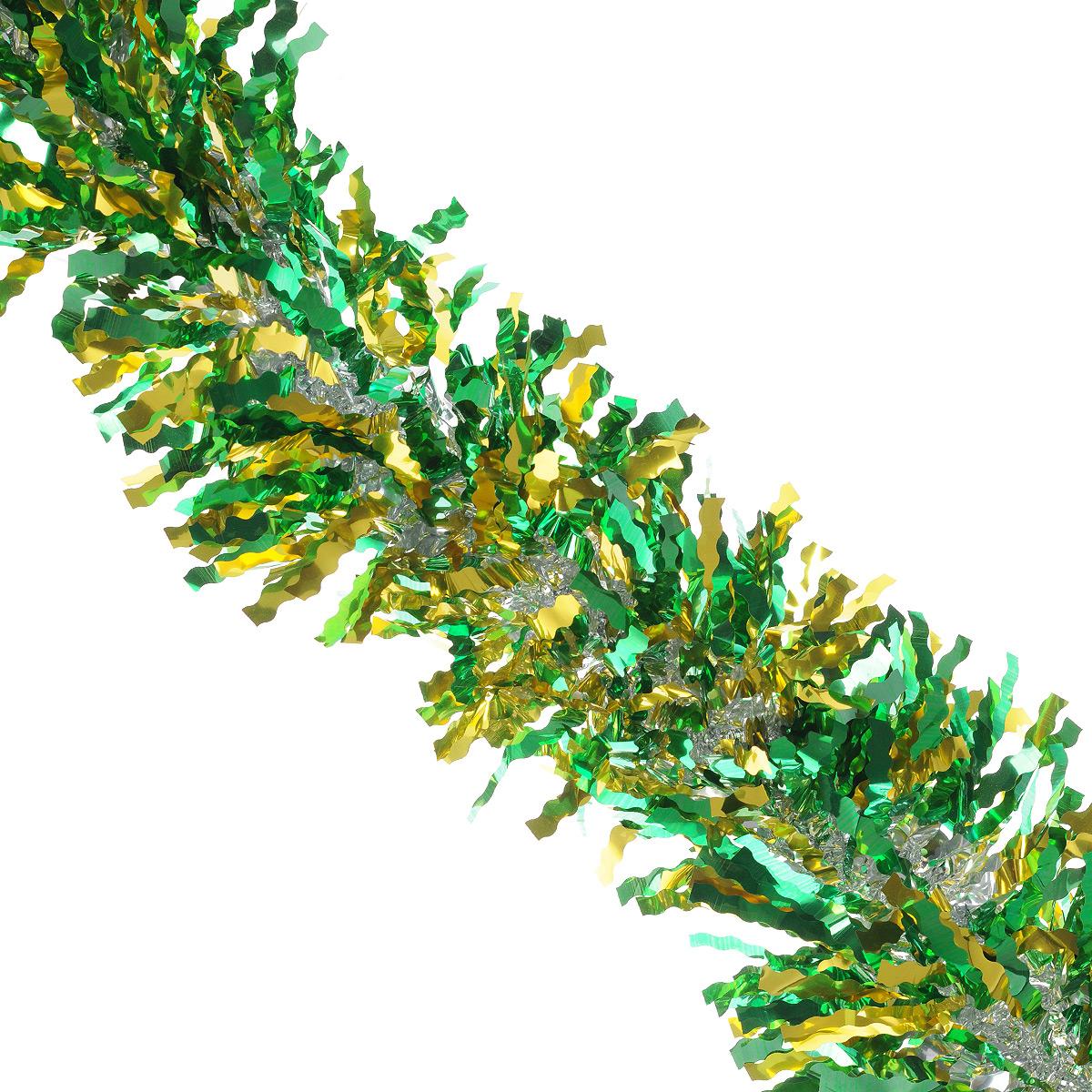 Мишура новогодняя Sima-land, цвет: золотистый, зеленый, диаметр 13 см, длина 2 м. 825987825987Новогодняя мишура Sima-land, выполненная из фольги, поможет вам украсить свой дом к предстоящим праздникам. А новогодняя елка с таким украшением станет еще наряднее. Мишура армирована, то есть имеет проволоку внутри и способна сохранять приданную ей форму. Новогодней мишурой можно украсить все, что угодно - елку, квартиру, дачу, офис - как внутри, так и снаружи. Можно сложить новогодние поздравления, буквы и цифры, мишурой можно украсить и дополнить гирлянды, можно выделить дверные колонны, оплести дверные проемы. Коллекция декоративных украшений из серии Зимнее волшебство принесет в ваш дом ни с чем несравнимое ощущение праздника! Создайте в своем доме атмосферу тепла, веселья и радости, украшая его всей семьей.