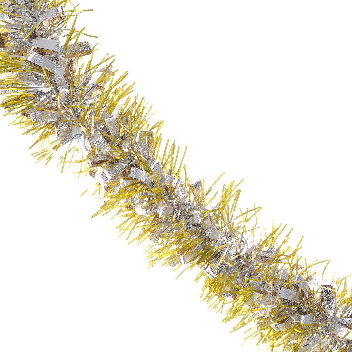 Мишура новогодняя Sima-land, цвет: золотистый, серебристый, диаметр 9 см, длина 2 м. 452424452424Мишура новогодняя Sima-land, выполненная из двухцветной фольги, поможет вам украсить свой дом к предстоящим праздникам. Мишура армирована, то есть имеет проволоку внутри и способна сохранять приданную ей форму. Новогодняя елка с таким украшением станет еще наряднее. Новогодней мишурой можно украсить все, что угодно - елку, квартиру, дачу, офис - как внутри, так и снаружи. Можно сложить новогодние поздравления, буквы и цифры, мишурой можно украсить и дополнить гирлянды, можно выделить дверные колонны, оплести дверные проемы. Коллекция декоративных украшений из серии Зимнее волшебство принесет в ваш дом ни с чем несравнимое ощущение праздника! Создайте в своем доме атмосферу тепла, веселья и радости, украшая его всей семьей.