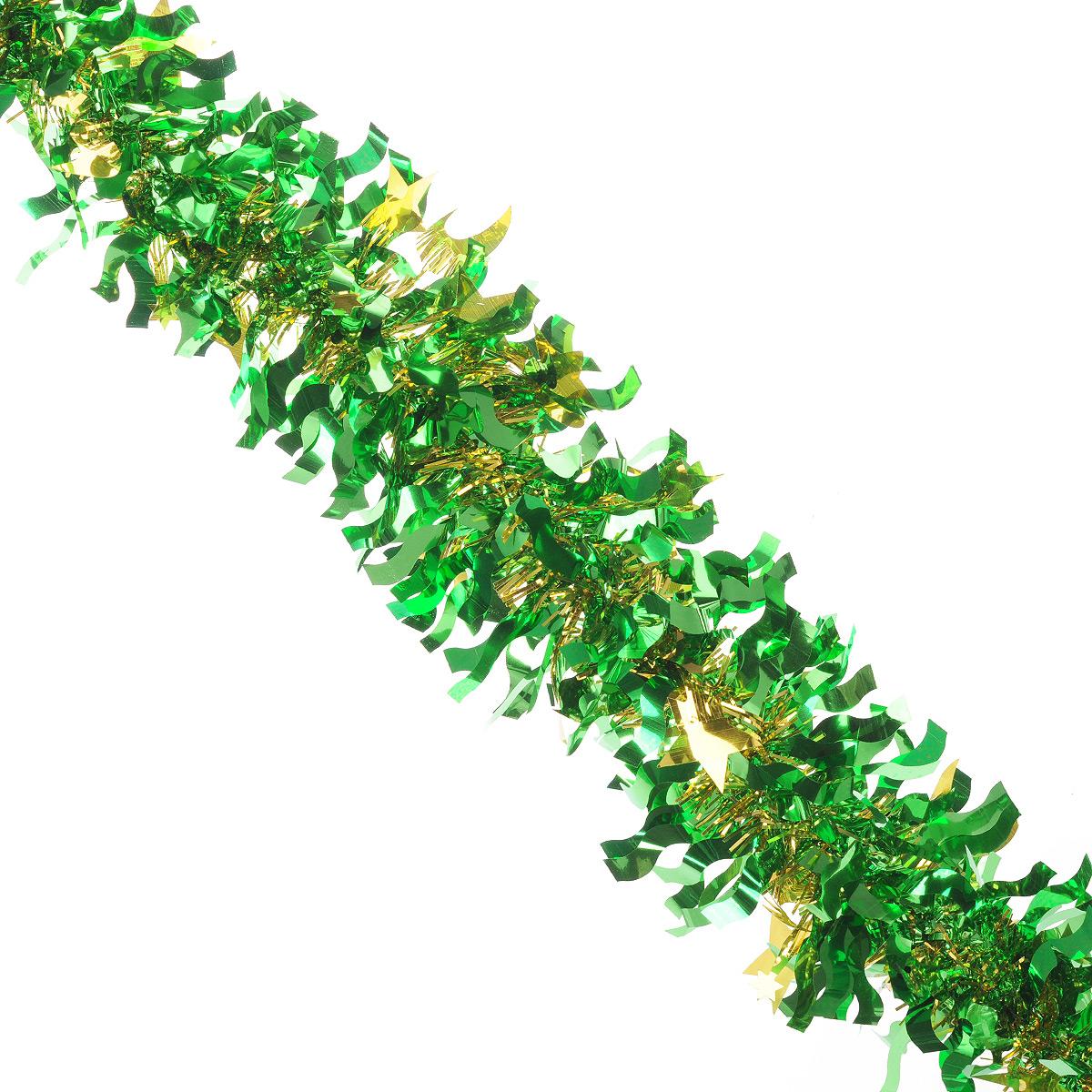 Мишура новогодняя Sima-land, цвет: золотистый, зеленый, диаметр 9 см, длина 2 м. 825979825979Новогодняя мишура Sima-land, выполненная из фольги, поможет вам украсить свой дом к предстоящим праздникам. А новогодняя елка с таким украшением станет еще наряднее. Мишура армирована, то есть имеет проволоку внутри и способна сохранять приданную ей форму. Новогодней мишурой можно украсить все, что угодно - елку, квартиру, дачу, офис - как внутри, так и снаружи. Можно сложить новогодние поздравления, буквы и цифры, мишурой можно украсить и дополнить гирлянды, можно выделить дверные колонны, оплести дверные проемы. Коллекция декоративных украшений из серии Зимнее волшебство принесет в ваш дом ни с чем несравнимое ощущение праздника! Создайте в своем доме атмосферу тепла, веселья и радости, украшая его всей семьей.