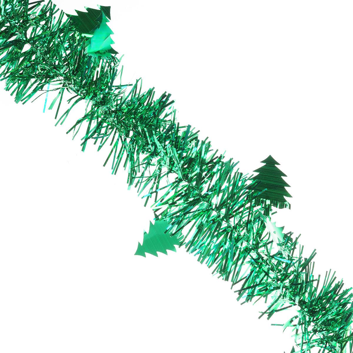 Мишура новогодняя Sima-land, цвет: зеленый, диаметр 8 см, длина 2 м. 702595702595