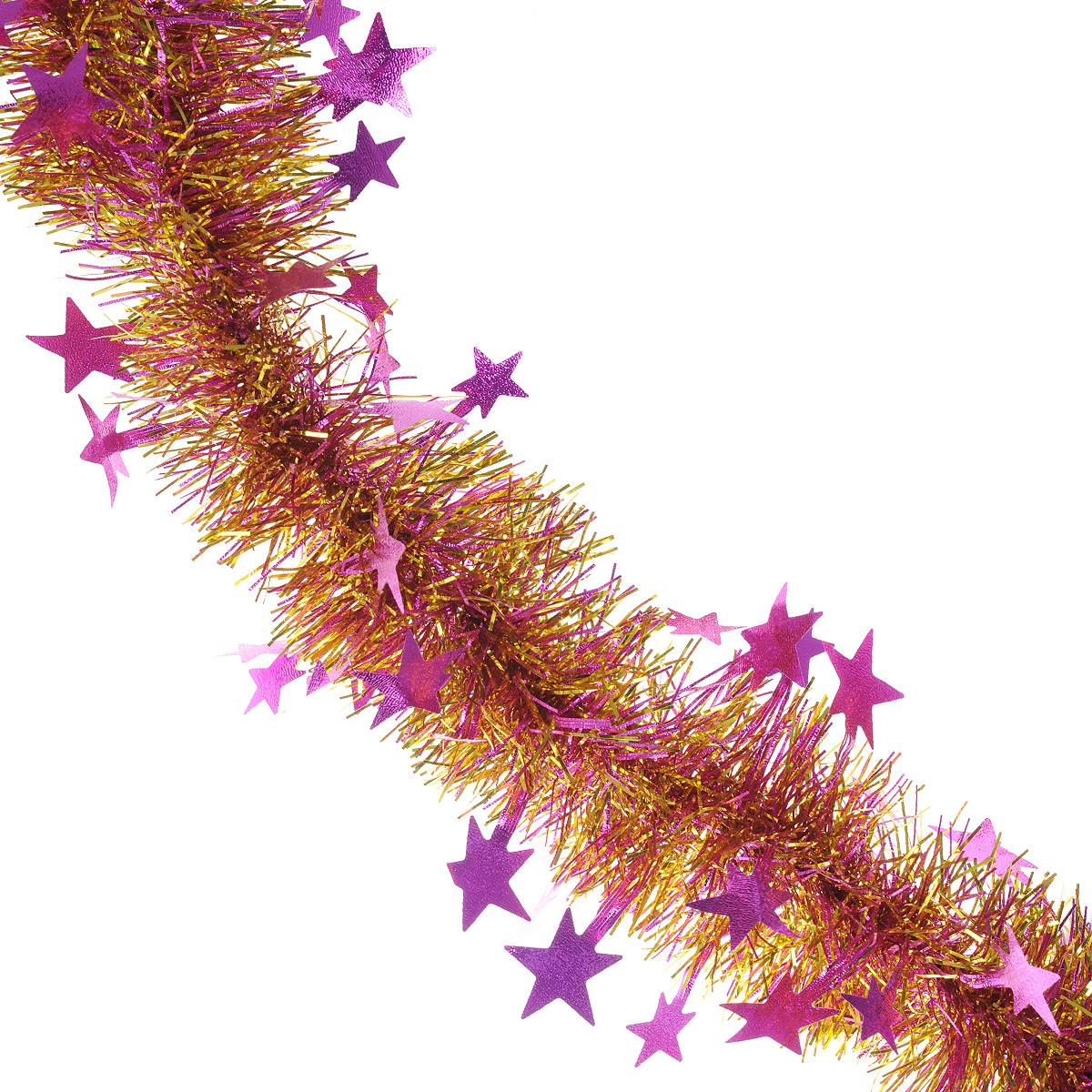 Мишура новогодняя Sima-land, цвет: сиреневый, золотистый, диаметр 9 см, длина 200 см. 706597706597Мишура новогодняя Sima-land, выполненная из двухцветной фольги, поможет вам украсить свой дом к предстоящим праздникам. Мишура армирована, то есть имеет проволоку внутри и способна сохранять приданную ей форму. По всей длине изделие украшено фигурками из фольги в виде гофрированных звездочек. Новогодней мишурой можно украсить все, что угодно - елку, квартиру, дачу, офис - как внутри, так и снаружи. Можно сложить новогодние поздравления, буквы и цифры, мишурой можно украсить и дополнить гирлянды, можно выделить дверные колонны, оплести дверные проемы.