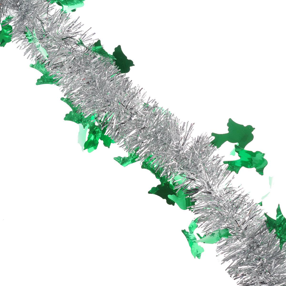 Мишура новогодняя Sima-land, цвет: серебристый, зеленый, диаметр 5 см, длина 2 м. 702618702618Мишура новогодняя Sima-land, выполненная из двухцветной фольги, поможет вам украсить свой дом к предстоящим праздникам. Мишура армирована, то есть имеет проволоку внутри и способна сохранять приданную ей форму. Новогодняя елка с таким украшением станет еще наряднее. Новогодней мишурой можно украсить все, что угодно - елку, квартиру, дачу, офис - как внутри, так и снаружи. Можно сложить новогодние поздравления, буквы и цифры, мишурой можно украсить и дополнить гирлянды, можно выделить дверные колонны, оплести дверные проемы. Коллекция декоративных украшений из серии Зимнее волшебство принесет в ваш дом ни с чем несравнимое ощущение праздника! Создайте в своем доме атмосферу тепла, веселья и радости, украшая его всей семьей.