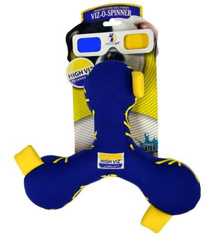 Игрушка для собак R2P Pet High-Viz. Волчок, плавающая, 20 см. 01590159Игрушка для собак R2P Pet High-Viz. Волчок - прекрасный подарок для вашего питомца! Собаки воспринимают цвет не так, как человек. Игрушки серии High-Viz разработаны с учетом особенностей зрения собак - сочетание желтого и сине-фиолетового является оптимальным и повышает видимость игрушки. Высококонтрастные расцветки наиболее подходят для глаз собак, стимулируют их внимание и привлекают к игре. Игрушка выполнена из неопрен. Игрушка подходит для активной игры с собакой как на суше, так и воде, потому что игрушка не тонет, а плавает на поверхности воды. Размер игрушки: 20 см х 20 см х 5 см.