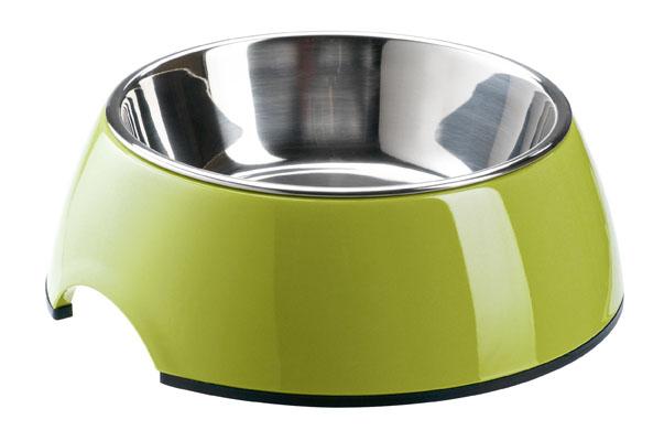Миска меламиновая для животных Super Design, цвет: зеленый, 160 мл70028Миска для животных Super Design выполнена из прочного полимера, устойчивого к царапинам. Миска содержит съемную емкость из нержавеющей стали, что облегчает процесс мытья. На дне имеется прорезиненная полоса, препятствующая скольжению миски. Миска прекрасно подойдет для корма и воды. Объем: 160 мл. Диаметр миски (по верхнему краю): 11 см. Диаметр основания: 14 см. Высота миски: 4,5 см.