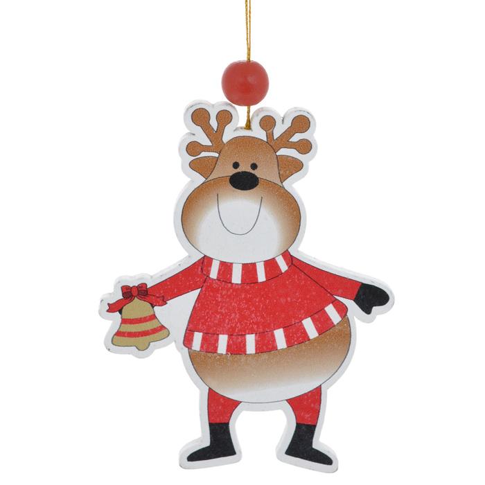 Новогоднее подвесное украшение Sima-land Веселый олень. 154262154262Новогоднее украшение Sima-land из дерева отлично подойдет для декорации вашего дома и новогодней ели. Украшение оснащено специальной текстильной петелькой для подвешивания. Елочная игрушка - символ Нового года. Она несет в себе волшебство и красоту праздника. Создайте в своем доме атмосферу веселья и радости, украшая всей семьей новогоднюю елку нарядными игрушками, которые будут из года в год накапливать теплоту воспоминаний.