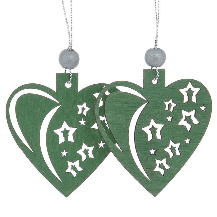 Набор новогодних подвесных украшений Sima-land Морозное сердце, цвет: зеленый, серебристый, 2 шт515021Набор Sima-land состоит из подвесных украшений, которые отлично подойдут для декорации вашего дома и новогодней ели. Игрушки выполнены из дерева в виде новогодних елей, декорированных резными узорами. Украшения оснащены специальными текстильными петельками для подвешивания. Елочная игрушка - символ Нового года. Она несет в себе волшебство и красоту праздника. Создайте в своем доме атмосферу веселья и радости, украшая всей семьей новогоднюю елку нарядными игрушками, которые будут из года в год накапливать теплоту воспоминаний.