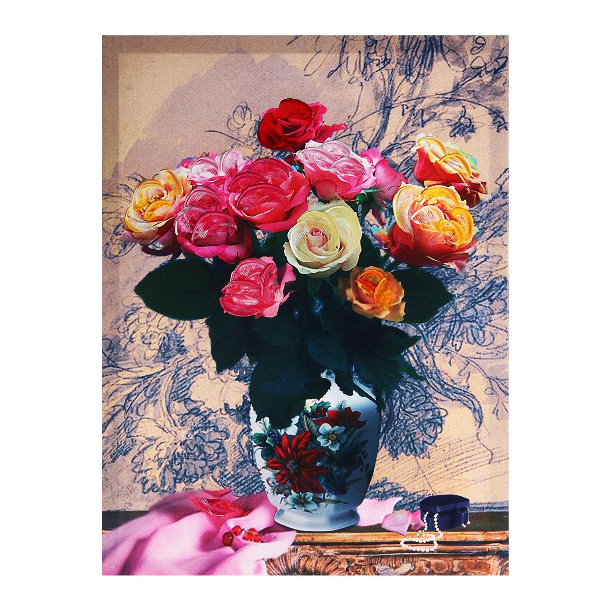 Картина на холсте Sima-land Розы в вазе, 30 х 40 см296642Картина Sima-land Розы в вазе написана на холсте. На картине изображен букет роз в вазе. Особое объемное изображение придает картине акрил, который нанесен поверх изображения. Картина на холсте акрилом - это классика современного живописного искусства . Картины акрилом всегда сохраняют яркий блеск, что придает картине живость. С обратной стороны имеется металлическая петелька для размещения картины на стене. Из мелочей складывается стиль интерьера. Картина на холсте Sima-land Розы в вазе одна из тех деталей, которые придают дому обжитой вид и создают ощущение уюта.