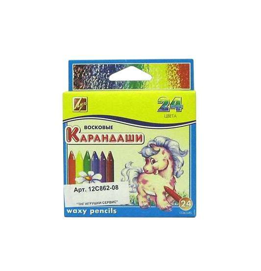 Восковые карандаши Луч, 24 цвета19048Карандаши восковые «Классика» изготовлены на основе полимерных восков и высококачественных пигментов. При рисовании дают яркий и ровный штрих. Имеют классическую круглую форму. Карандаши прочные и не требуют заточки. Подробнее: http://umnieroditeli.ru/product/karandashi-voskovyie-kruglyie-8h90-12-tsvetov-luch-4601185003839 Характеристики: Диаметр карандаша: 0,8 см. Длина карандаша: 9 см. Размер упаковки: 12 см х 10 см х 1,5 см.