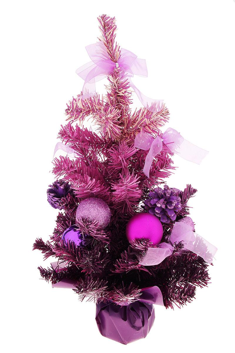 Декоративное украшение Sima-land Новогодняя елочка, цвет: фиолетовый, высота 50 см. 542620542620Декоративное украшение Sima-land, выполненное из пластика - мини-елочка для оформления интерьера к Новому году. Ее не нужно ни собирать, ни наряжать, зато настроение праздника она создает очень быстро. Елка украшена текстильными бантами, шишками, шарами, блестками. Елка украсит интерьер вашего дома или офиса к Новому году и создаст теплую и уютную атмосферу праздника. Откройте для себя удивительный мир сказок и грез. Почувствуйте волшебные минуты ожидания праздника, создайте новогоднее настроение вашим дорогим и близким.