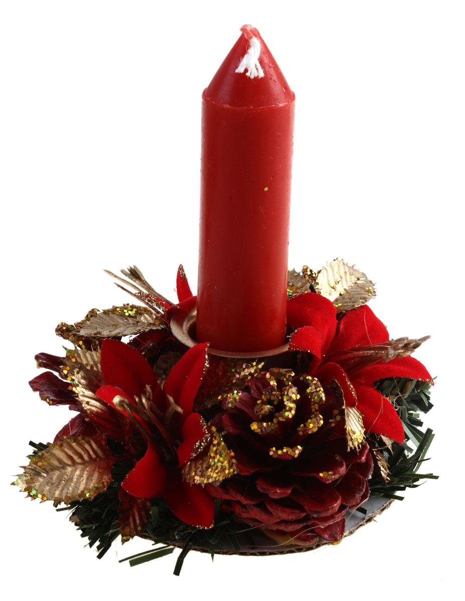 Набор подсвечников Sima-land Цветок и шишка, со свечами, цвет: красный, золотистый, 2 шт542663