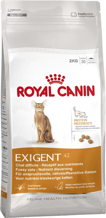 Корм сухой Royal Canin Exigent 42 Protein Preference, для кошек, привередливых к составу продукта, 400 г472004Корм сухой Royal Canin Exigent 42 Protein Preference - полнорационное питание для кошек, привередливых к составу продукта. Узнайте пищевые предпочтения вашей кошки! Наличие индивидуальных пищевых предпочтений означает, что каждая кошка по-своему интерпретирует аромат, текстуру, вкус корма и ощущения после его потребления. Каждый продукт семейства Exigent, помимо вкусовых качеств, обладает также рядом других оригинальных, специфических свойств. Чувствительность к составу продукта. Корм Protein preference (Протеин преференс) со специально подобранным соотношением белков, жиров и углеводов. Это рацион высокой питательной ценности для привередливых кошек. Поддержание идеального веса. Особая рецептура продуктов обладает умеренной калорийностью, что помогает поддерживать идеальный вес кошки. Забота о красоте шерсти. Комплекс активных питательных веществ в составе корма, включающий биотин и масло огуречника аптечного, способствует...