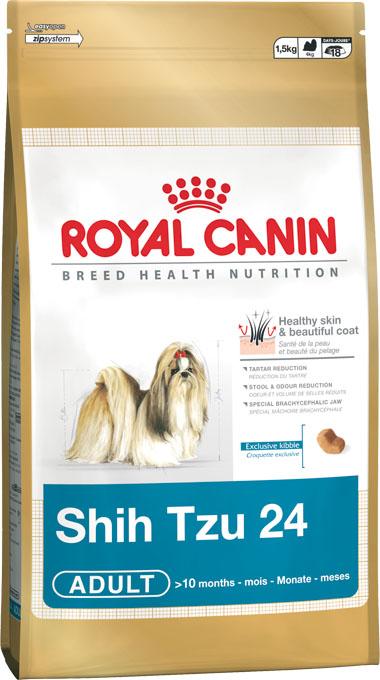Корм сухой Royal Canin Shih Tzu Adult, для собак пород ши-тцу в возрасте от 10 месяцев, 500 г176005Корм сухой Royal Canin Shih Tzu Adult - полнорационный корм для собак пород ши-тцу в возрасте от 10 месяцев. Порода ши-тцу была выведена в Тибете, и собаки этой породы долгое время принадлежали исключительно китайской императорской династии. Красивые и экзотические ши-тцу напоминали маленьких львов и считались божественными созданиями, за которыми требовался специфический уход. Главное требование к корму для ши-тцу — наличие оптимального витаминного комплекса и аминокислот, благотворно влияющих на шерсть собак. Здоровая кожа и красивая шерсть. Корм усиливает защитные свойства кожи и смягчает воспалительные реакции благодаря присутствию в его составе специального кожного комплекса, а также эйкозапентеновой и докозагексаеновой кислот. Здоровье зубов. Поддерживает здоровье зубов и ротовой полости. Нормализация стула. Нормализует стул, способствует уменьшению объема и запаха фекалий. Особая форма и текстура крокет. Особая форма и текстура...