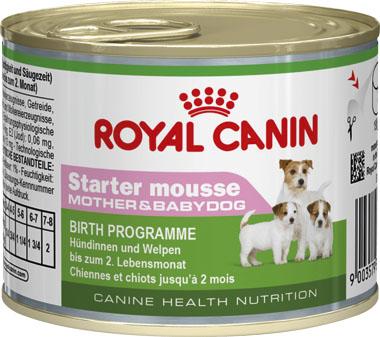 Консервы Royal Canin Starter Mousse, для щенков и кормящих собак, 195 г664002Консервы Royal Canin Starter Mousse - полнорационный влажный корм для сук в конце беременности и в период лактации, а также для щенков от момента отъема до 2 месяцев. Данное диетологическое решение было разработано специально для удовлетворения особых потребностей в питании суки во время беременности и лактации, а также для облегчения перехода с сучьего молока на сухой рацион для щенков (от момента отъема до 2 месяцев). Состав: мясо и мясные субпродукты, злаки, субпродукты растительного происхождения, масла и жиры, молоко и продукты его переработки, минеральные вещества, дрожжи. Добавки (в 1 кг): Питательные добавки: Витамин D3: 120 ME, Железо: 4 мг, Йод: 0,17 мг, Марганец: 1,3 мг, Цинк: 13 мг. Товар сертифицирован.