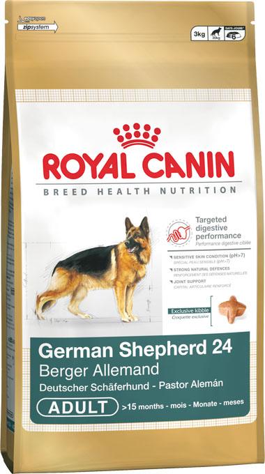 Корм сухой Royal Canin German Shepherd Adult, для собак породы немецкая овчарка старге 15 месяцев, 12 кг342120Сухой корм Royal Canin German Shepherd Adult - это полнорационный сбалансированный корм для немецких овчарок. Особенности породы: Забота о безопасном пищеварении. У немецкой овчарки, как и у других крупных собак, желудок и кишечник весьма чувствительны. На это имеются три причины: относительно небольшие размеры пищеварительного тракта, высокая кишечная проницаемость и повышенный риск брожения в желудке. Забота о коже со щелочной реакцией. Из-за повышенного pH кожи немецкая овчарка особо уязвима для бактериальных инфекций. Специально подобранный рацион усиливает защитные функции кожных покровов и помогает поддерживать природную красоту шерсти. Чувствительная иммунная система. Естественные иммунные механизмы немецкой овчарки не всегда обеспечивают достаточно эффективную защиту кожи и слизистых оболочек. Чтобы организм собаки мог противостоять окислительному стрессу, влекущему за собой старение, необходимо позаботиться об укреплении иммунной системы. ...