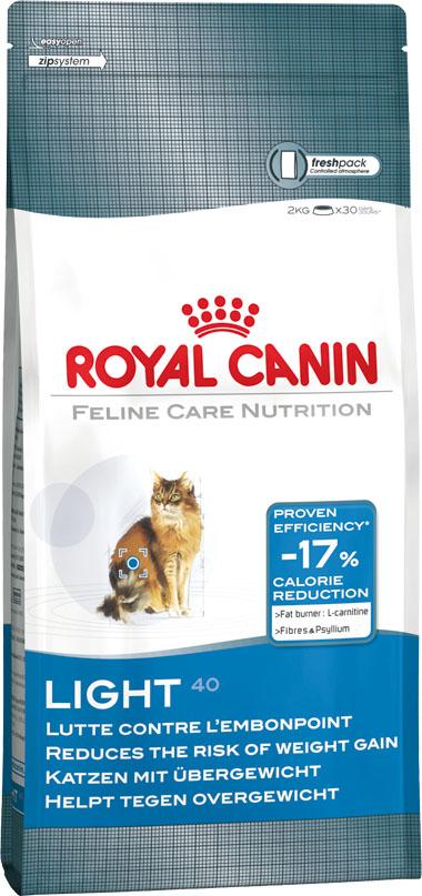 Корм сухой Royal Canin Light, для кошек, склонных к избыточному весу, 10 кг444100Сухой корм Royal Canin Light - это полноценный сбалансированный корм для кошек склонных к полноте, а также после кастрации и стерилизации. Каждая четвертая кошка страдает избыточным весом. Однажды появившийся избыточный вес имеет тенденцию сохраняться и даже увеличиваться. Лишние килограммы могут повредить здоровью вашей кошки. Чтобы вернуть кошке идеальный вес, необходимы разумные ограничения рациона. Показано, что данный продукт, обогащенный пищевыми волокнами и подорожником, позволяет значительно снизить калорийность рациона и при этом полностью удовлетворить аппетит кошки. Высокое содержание белка (40%) помогает сохранить мышечную массу, а L-карнитин - лучше использовать жировые запасы. Состав: дегидратированное мясо домашней птицы, кукуруза, кукурузный глютен, растительные волокна, гидролизат животных белков, изолят растительного белка, животные жиры, свекольный жом, дрожжи, минеральные вещества, соевое масло, полифосфат натрия, рыбий жир,...
