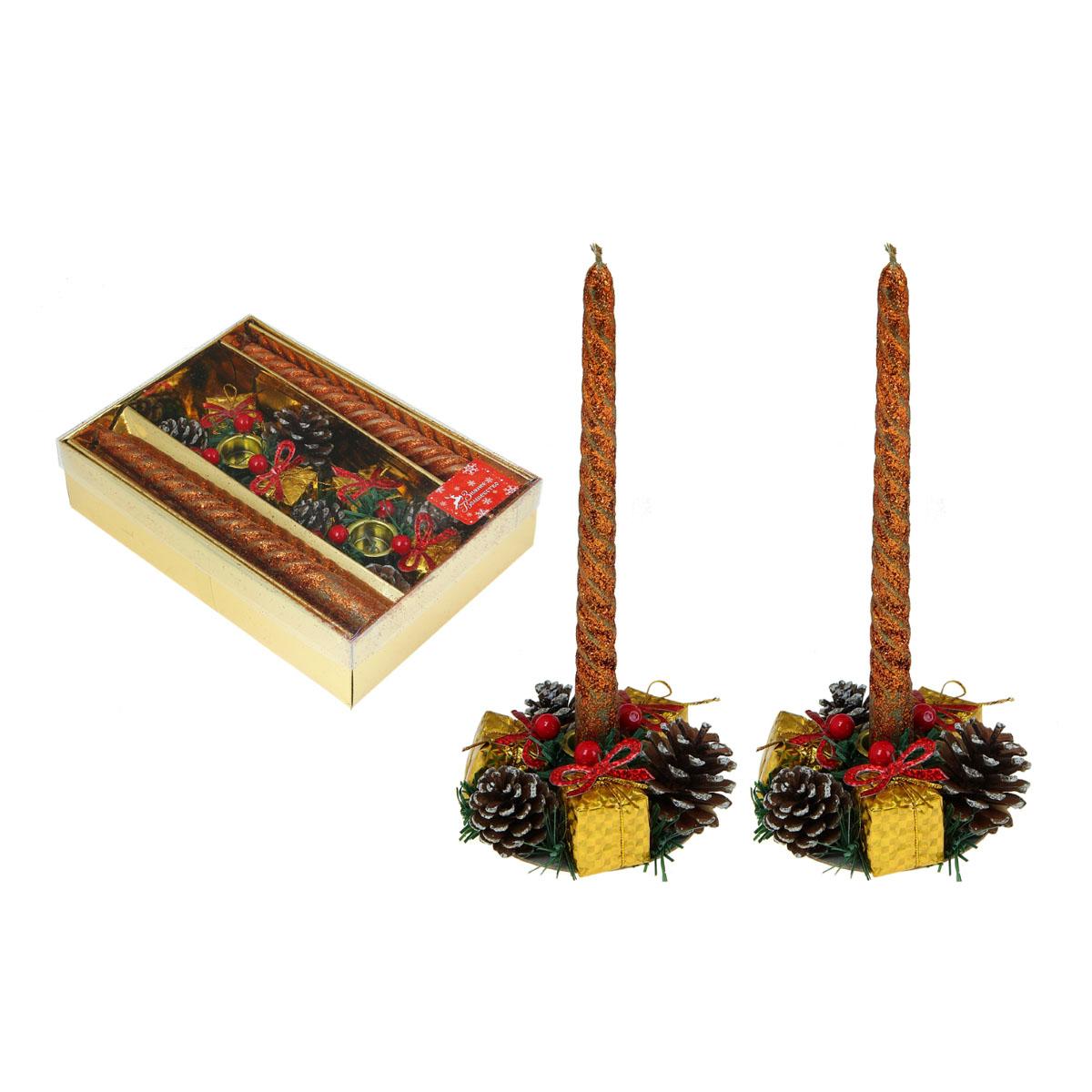 Набор подсвечников Sima-land Шишки и подарки, со свечами, цвет: золотистый, 4 предмета. 826098826098