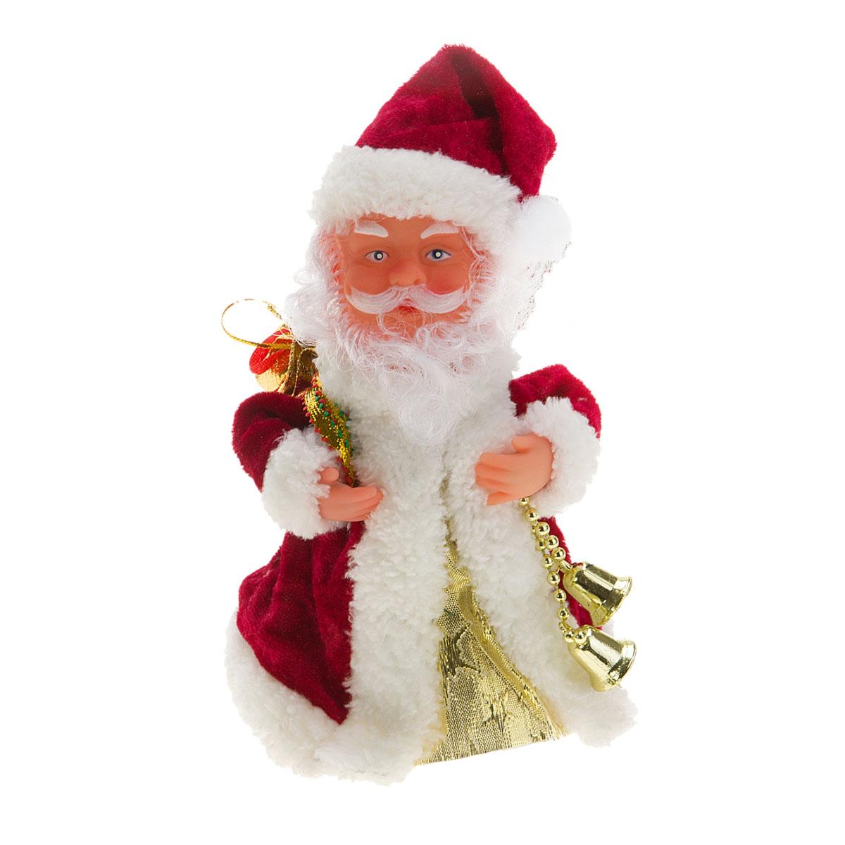 Новогодняя декоративная фигурка Sima-land Дед Мороз, анимированная, высота 18 см. 827790827790Новогодняя декоративная фигурка выполнена из высококачественного пластика в виде Деда Мороза. Дед Мороз одет в шубу с опушкой. На голове колпак в цвет шубы. В одной руке Дед Мороз держит мешок с подарками, а в другой - связку колокольчиков. Особенностью фигурки является наличие механизма, при включении которого играет мелодия, кукла начинает кружиться и двигаться, шевеля руками и головой. Его добрый вид и очаровательная улыбка притягивают к себе восторженные взгляды. Декоративная фигурка Дед Мороз подойдет для оформления новогоднего интерьера и принесет с собой атмосферу радости и веселья.