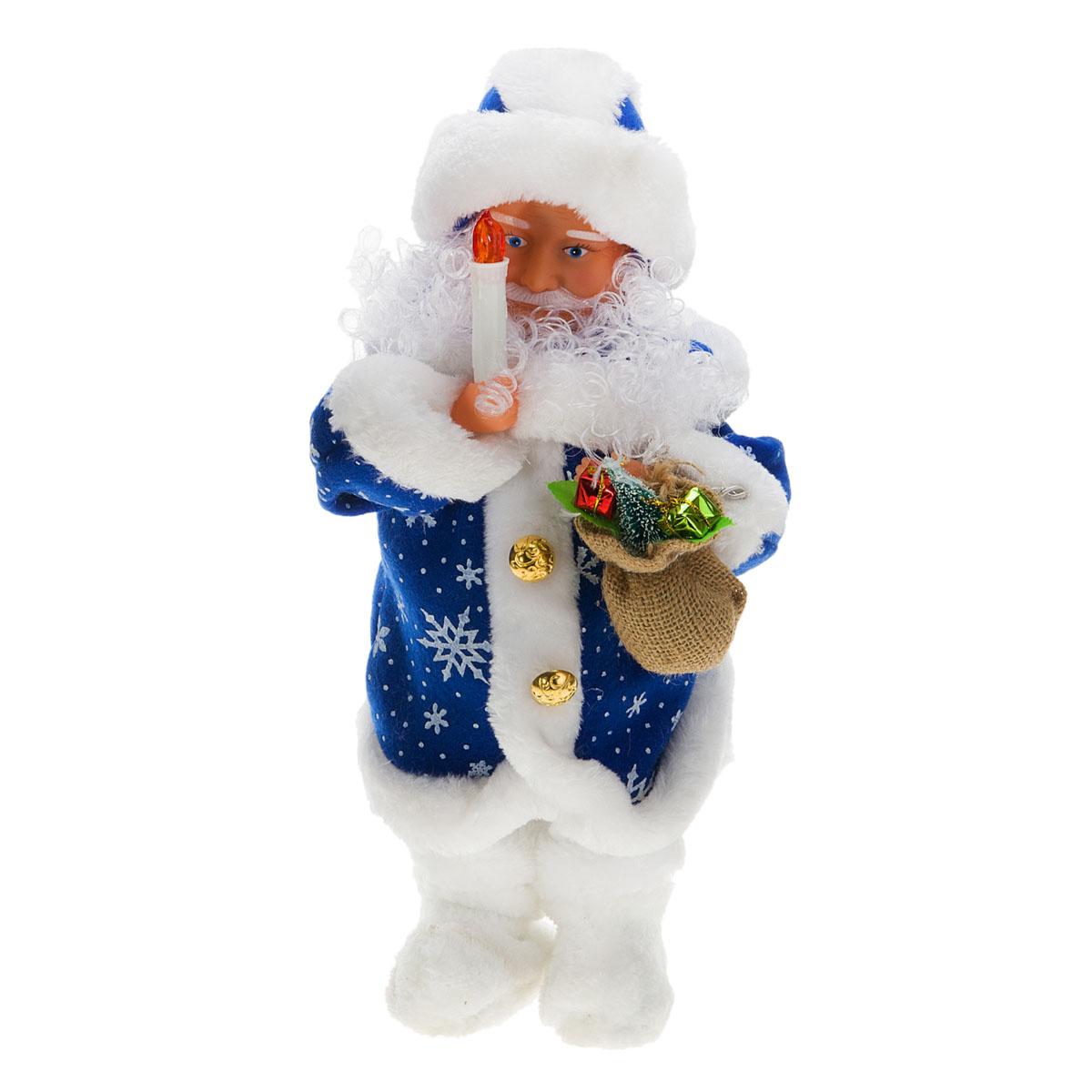 Новогодняя декоративная фигурка Sima-land Дед Мороз, анимированная, высота 38 см. 827806827806Новогодняя декоративная фигурка выполнена из высококачественного пластика в виде Деда Мороза. Дед Мороз одет в шубу с опушкой, украшенную снежинками, штаны и меховые валенки. На голове шапка в цвет шубы. В одной руке Дед Мороз держит свечку, а в другой мешок с подарками. Особенностью фигурки является наличие механизма, при включении которого Дед Мороз говорит поздравления и поет песенку, свечка светится, а голова и руки куклы начинают двигаться. Его добрый вид и очаровательная улыбка притягивают к себе восторженные взгляды. Декоративная фигурка Дед Мороз подойдет для оформления новогоднего интерьера и принесет с собой атмосферу радости и веселья. УВАЖАЕМЫЕ КЛИЕНТЫ! Обращаем ваше внимание на тот факт, что декоративная фигурка работает от трех батареек типа АА/UM3 напряжением 1,5V. Батарейки в комплект не входят.