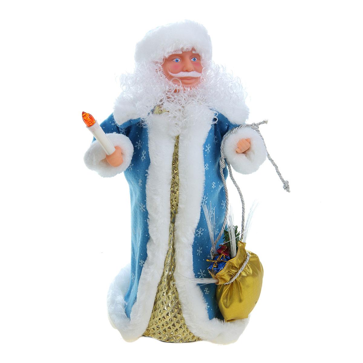 Новогодняя декоративная фигурка Sima-land Дед Мороз, анимированная, высота 38 см. 827807827807Новогодняя декоративная фигурка выполнена из высококачественного пластика в виде Деда Мороза. Дед Мороз одет в шубу с опушкой, украшенную снежинками. На голове шапка в цвет шубы. В одной руке Дед Мороз держит свечку, а в другой мешок с подарками. В мешок встроен светильник на основе световодов из полимерного оптического волокна. Фигурка стоит на подставке. Особенностью фигурки является наличие механизма, при включении которого играет мелодия, свечка и мешок светятся, а голова и руки куклы начинают двигаться. Его добрый вид и очаровательная улыбка притягивают к себе восторженные взгляды. Декоративная фигурка Дед Мороз подойдет для оформления новогоднего интерьера и принесет с собой атмосферу радости и веселья. УВАЖАЕМЫЕ КЛИЕНТЫ! Обращаем ваше внимание на тот факт, что декоративная фигурка работает от трех батареек типа АА/R6/AM3 напряжением 1,5V. Батарейки в комплект не входят.