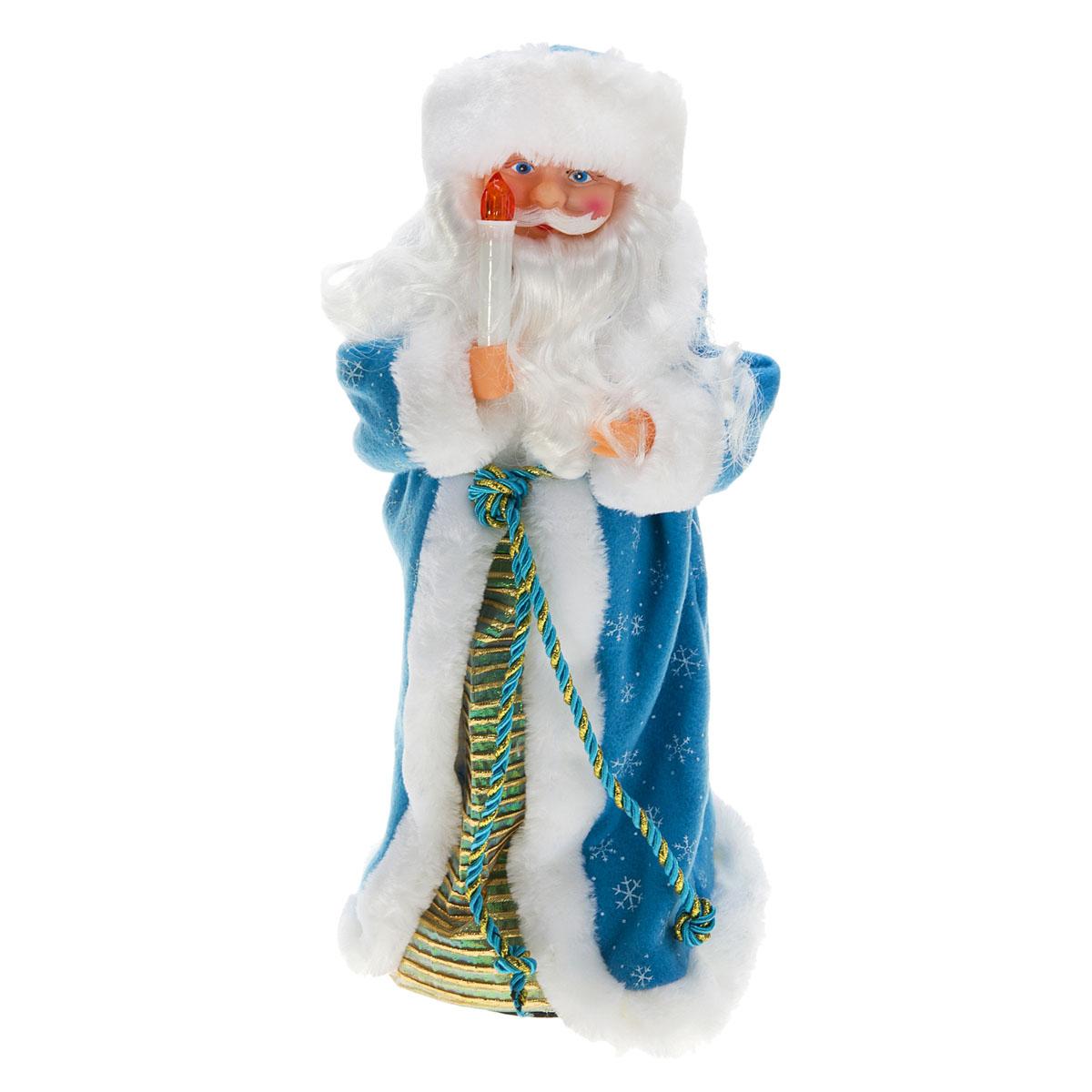 Новогодняя декоративная фигурка Sima-land Дед Мороз, анимированная, высота 38 см. 827808827808Новогодняя декоративная фигурка выполнена из высококачественного пластика в виде Деда Мороза. Дед Мороз одет в шубу с опушкой, украшенную снежинками. На голове шапка в цвет шубы. В руке Дед Мороз держит свечку. Фигурка стоит на подставке. Особенностью фигурки является наличие механизма, при включении которого играет мелодия, свечка светится, а голова и руки куклы начинают двигаться. Его добрый вид и очаровательная улыбка притягивают к себе восторженные взгляды. Декоративная фигурка Дед Мороз подойдет для оформления новогоднего интерьера и принесет с собой атмосферу радости и веселья. УВАЖАЕМЫЕ КЛИЕНТЫ! Обращаем ваше внимание на тот факт, что декоративная фигурка работает от трех батареек типа АА/R6/AM3 напряжением 1,5V. Батарейки в комплект не входят.