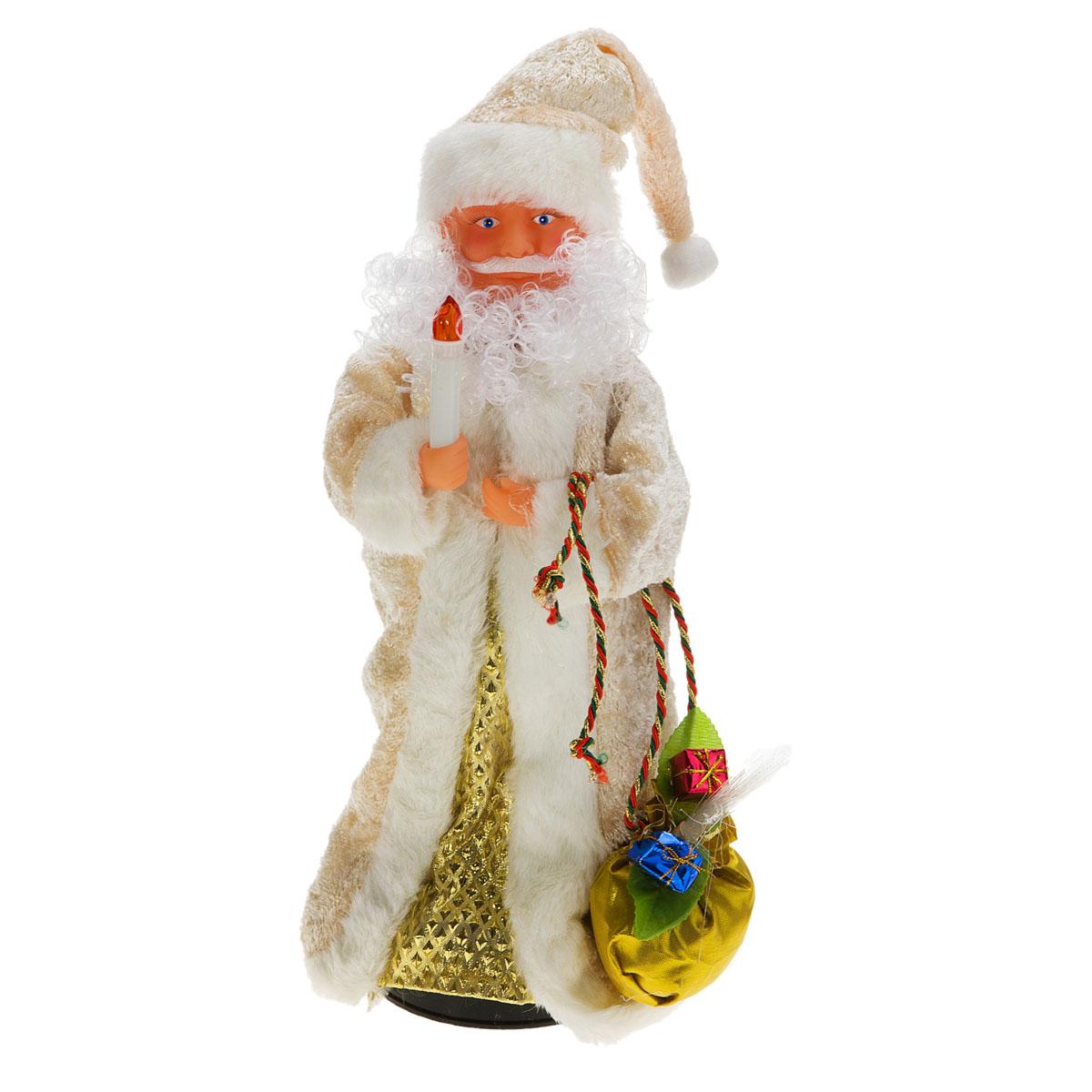 Новогодняя декоративная фигурка Sima-land Дед Мороз, анимированная, высота 38 см. 827810827810Новогодняя декоративная фигурка выполнена из высококачественного пластика в виде Деда Мороза. Дед Мороз одет в шубу с опушкой. На голове колпак в цвет шубы. В одной руке Дед Мороз держит свечку, а в другой мешок с подарками. В мешок встроен светильник на основе световодов из полимерного оптического волокна. Фигурка стоит на подставке. Особенностью фигурки является наличие механизма, при включении которого играет мелодия, свечка и мешок светятся, а голова и руки куклы начинают двигаться. Его добрый вид и очаровательная улыбка притягивают к себе восторженные взгляды. Декоративная фигурка Дед Мороз подойдет для оформления новогоднего интерьера и принесет с собой атмосферу радости и веселья. УВАЖАЕМЫЕ КЛИЕНТЫ! Обращаем ваше внимание на тот факт, что декоративная фигурка работает от трех батареек типа АА/R6/AM3 напряжением 1,5V. Батарейки в комплект не входят.
