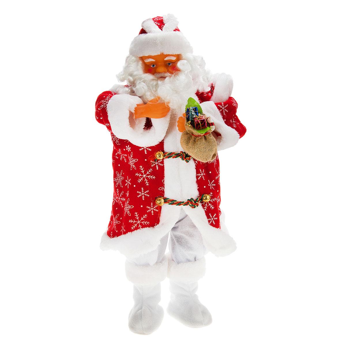 Новогодняя декоративная фигурка Sima-land Дед Мороз, анимированная, цвет: красный, высота 60 см. 827817827817Новогодняя декоративная фигурка выполнена из высококачественного пластика в виде Деда Мороза. Дед Мороз одет в шубу, на голове колпак. В руке у него мешок с подарками. Особенностью фигурки является наличие механизма, при включении которого играет мелодия, а голова и руки куклы начинают двигаться. Его добрый вид и очаровательная улыбка притягивают к себе восторженные взгляды. Декоративная фигурка Дед Мороз подойдет для оформления новогоднего интерьера и принесет с собой атмосферу радости и веселья. УВАЖАЕМЫЕ КЛИЕНТЫ! Обращаем ваше внимание на тот факт, что декоративная фигурка работает от трех батареек типа АА напряжением 1,5V. Батарейки в комплект не входят.