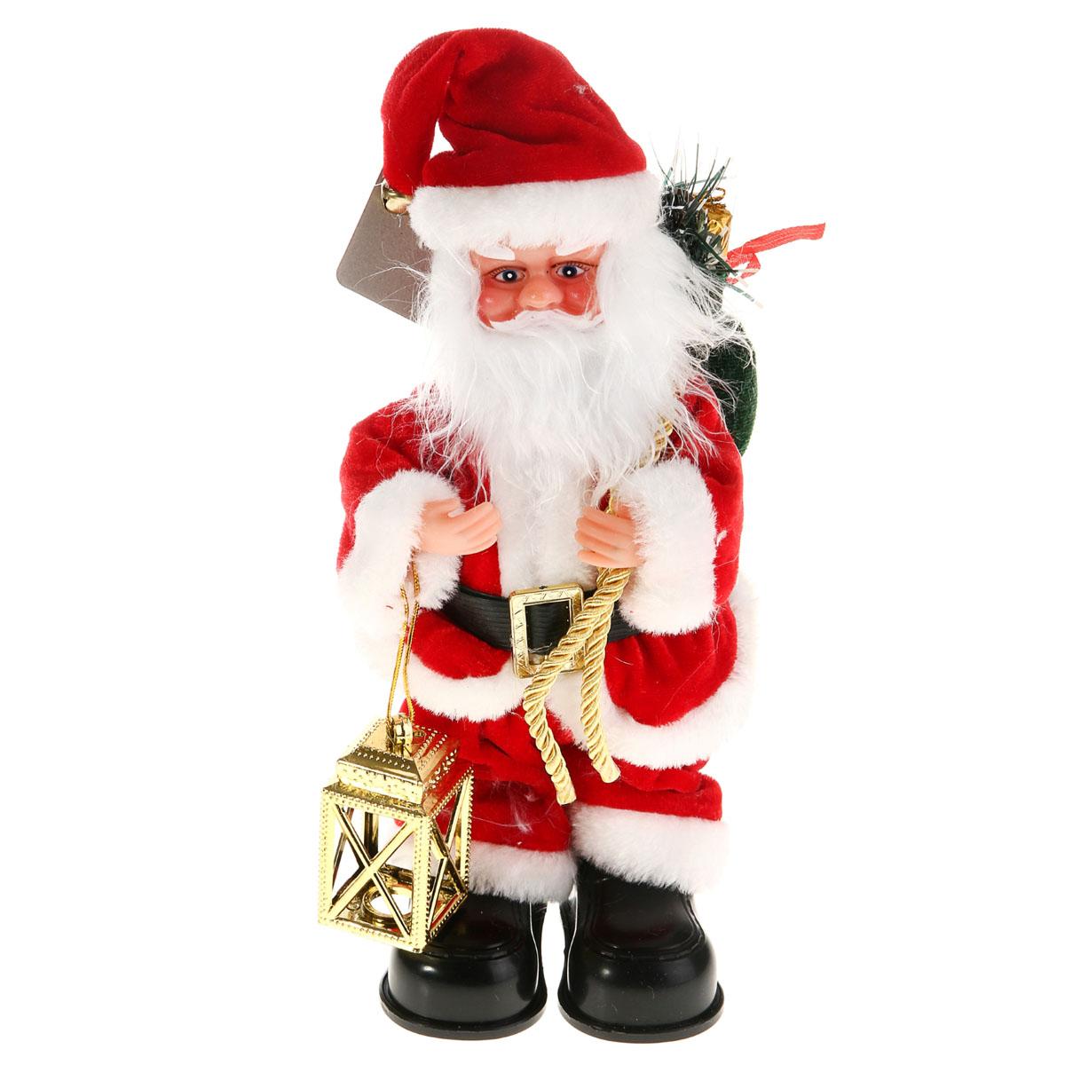 Новогодняя декоративная фигурка Sima-land Дед Мороз, анимированная, высота 28 см. 827819827819Новогодняя декоративная фигурка выполнена из высококачественного пластика в виде Деда Мороза. Дед Мороз одет в короткую шубу с опушкой, штаны и пластиковые сапоги. На голове колпак в цвет шубы с бубенцом. В одной руке Дед Мороз держит фонарь, а в другой мешок с подарками. Особенностью фигурки является наличие механизма, при включении которого играет мелодия, а кукла начинает шевелить руками и головой. Его добрый вид и очаровательная улыбка притягивают к себе восторженные взгляды. Декоративная фигурка Дед Мороз подойдет для оформления новогоднего интерьера и принесет с собой атмосферу радости и веселья. УВАЖАЕМЫЕ КЛИЕНТЫ! Обращаем ваше внимание на тот факт, что декоративная фигурка работает от двух батареек типа АА/R6/UM-3 напряжением 1,5V. Батарейки в комплект не входят.