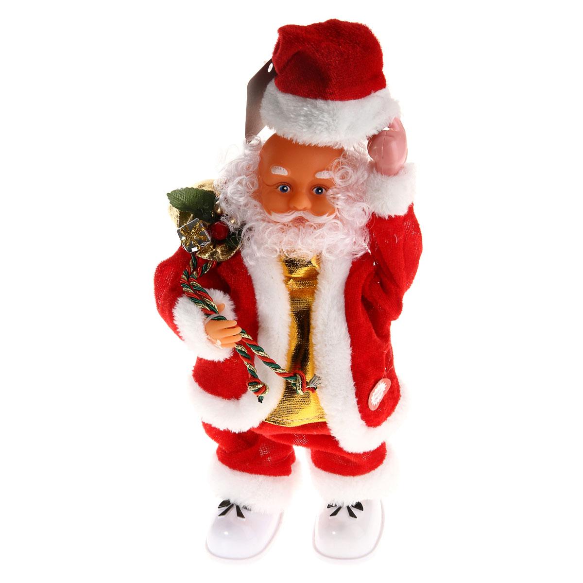 Новогодняя декоративная фигурка Sima-land Дед Мороз, анимированная, высота 28 см. 827820827820Новогодняя декоративная фигурка выполнена из высококачественного пластика в виде Деда Мороза. Дед Мороз одет в короткую шубу с опушкой, штаны и пластиковые сапоги. На голове колпак в цвет шубы с бубенцом. В одной руке Дед Мороз держит колпак, а в другой мешок с подарками. Особенностью фигурки является наличие механизма, при включении которого играет мелодия, а кукла начинает шевелить руками и головой, снимать шляпу. Его добрый вид и очаровательная улыбка притягивают к себе восторженные взгляды. Декоративная фигурка Дед Мороз подойдет для оформления новогоднего интерьера и принесет с собой атмосферу радости и веселья. УВАЖАЕМЫЕ КЛИЕНТЫ! Обращаем ваше внимание на тот факт, что декоративная фигурка работает от трех батареек типа АА/R6/UM-3 напряжением 1,5V. Батарейки в комплект не входят.