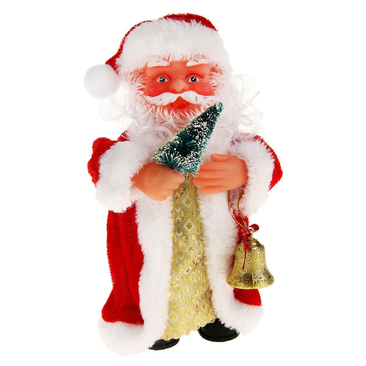 Новогодняя декоративная фигурка Sima-land Дед Мороз с колокольчиком, музыкальная, высота 17,5 см. 827829827829Новогодняя декоративная фигурка выполнена из высококачественного пластика в виде Деда Мороза. Дед Мороз одет в красную шубу с белой опушкой. На голове шапка в цвет шубы. В одной руке Дед Мороз держит елочку, а в другой - колокольчик. Особенностью фигурки является наличие механизма, при включении которого играет новогодняя песенка В лесу родилась елочка. Его добрый вид и очаровательная улыбка притягивают к себе восторженные взгляды. Декоративная фигурка Дед Мороз прекрасно подойдет для оформления новогоднего интерьера и принесет с собой атмосферу радости и веселья.