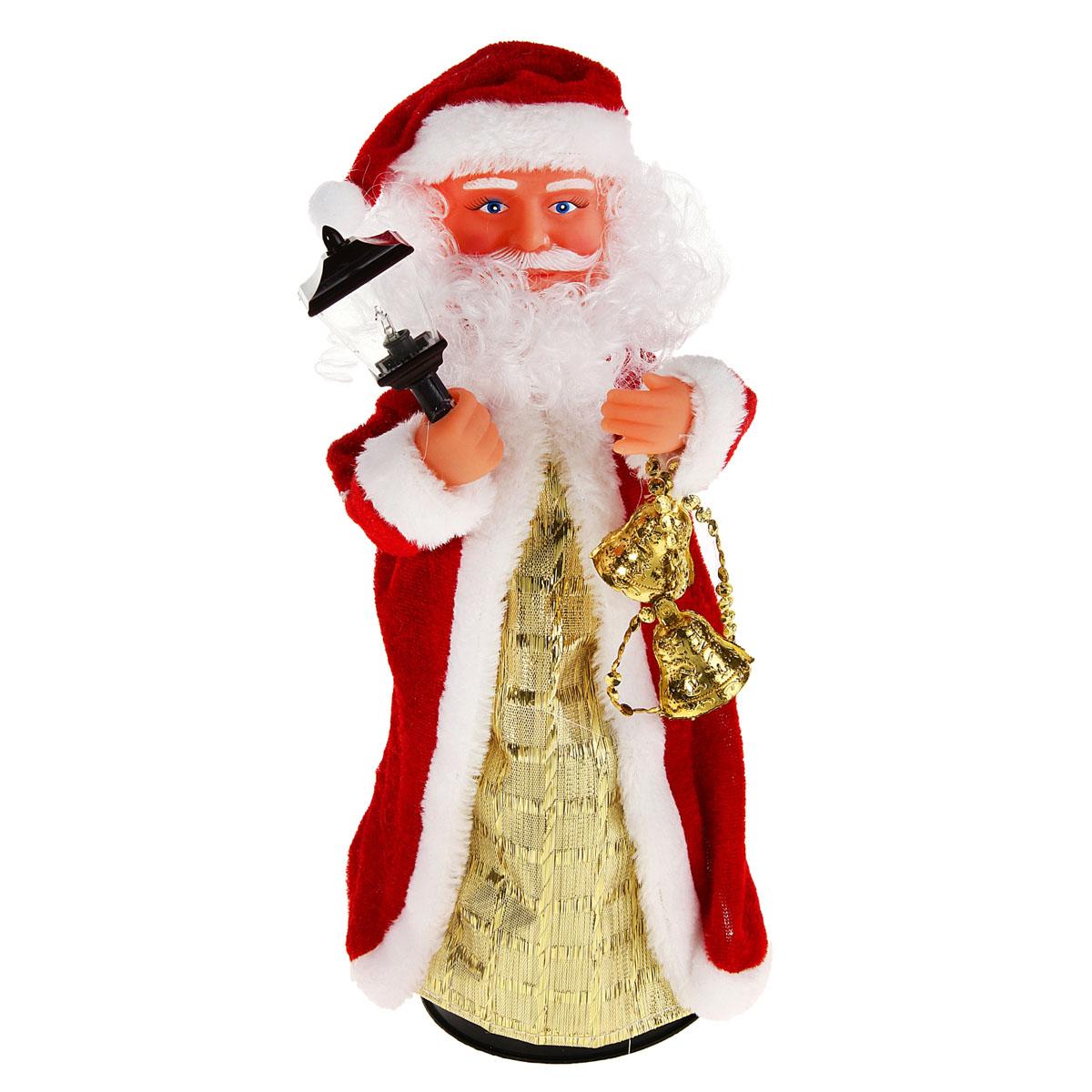 Новогодняя декоративная фигурка Sima-land Дед Мороз, анимированная, высота 28 см. 827831827831Новогодняя декоративная фигурка выполнена из высококачественного пластика в виде Деда Мороза. Дед Мороз одет в шубу с опушкой. На голове колпак в цвет шубы. В одной руке Дед Мороз держит фонарик, а в другой колокольчики. Особенностью фигурки является наличие механизма, при включении которого играет мелодия, фонарик светится, а кукла начинает крутиться вокруг своей оси, шевеля руками и головой. Его добрый вид и очаровательная улыбка притягивают к себе восторженные взгляды. Декоративная фигурка Дед Мороз подойдет для оформления новогоднего интерьера и принесет с собой атмосферу радости и веселья. УВАЖАЕМЫЕ КЛИЕНТЫ! Обращаем ваше внимание на тот факт, что декоративная фигурка работает от трех батареек типа АА/R6/UM-3 напряжением 1,5V. Батарейки в комплект не входят.