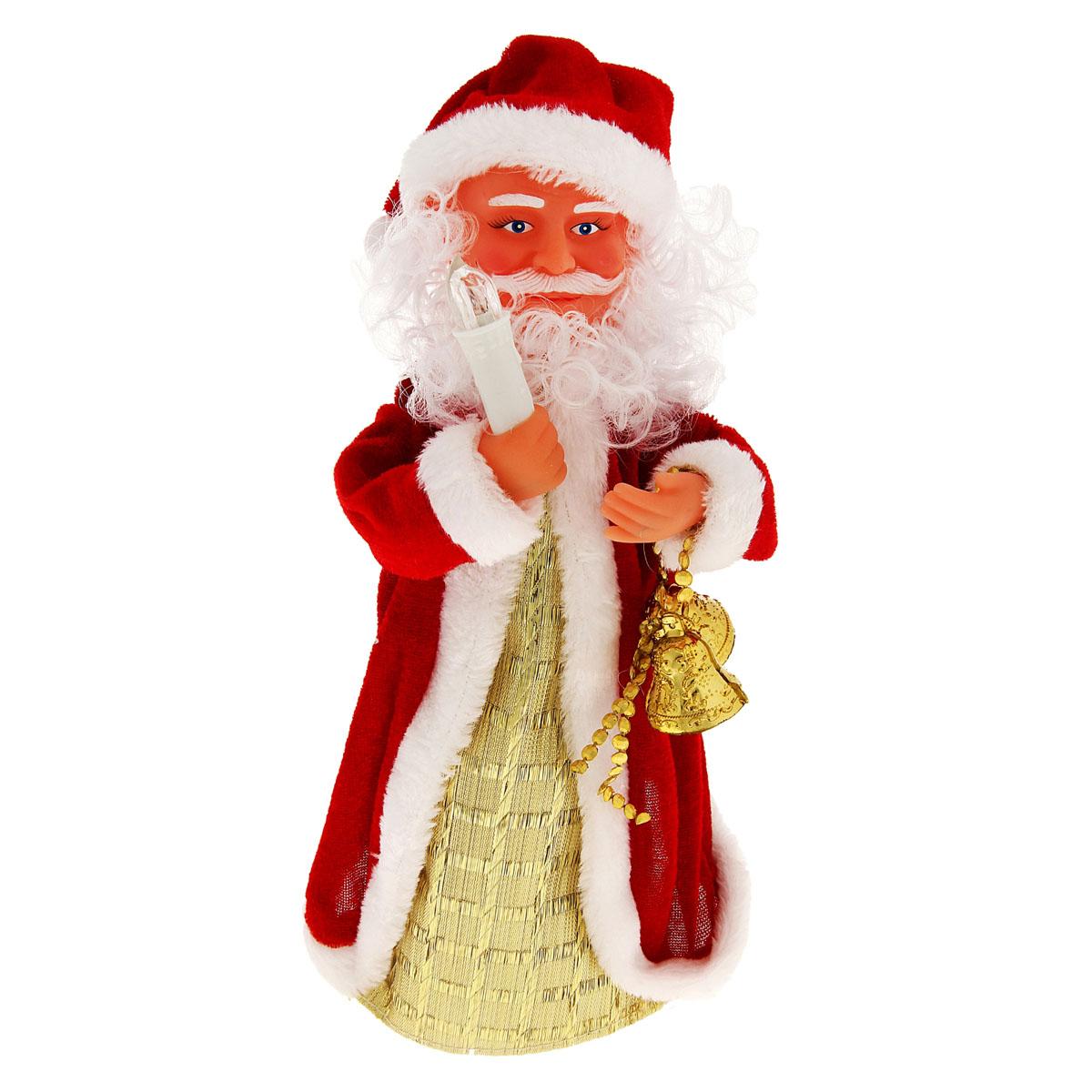 Новогодняя декоративная фигурка Sima-land Дед Мороз, анимированная, высота 28 см. 827832827832Новогодняя декоративная фигурка выполнена из высококачественного пластика в виде Деда Мороза. Дед Мороз одет в шубу с опушкой. На голове колпак в цвет шубы. В одной руке Дед Мороз держит свечку, а в другой колокольчики. Особенностью фигурки является наличие механизма, при включении которого играет мелодия, свечка светится, а кукла начинает крутиться вокруг своей оси, шевеля руками и головой. Его добрый вид и очаровательная улыбка притягивают к себе восторженные взгляды. Декоративная фигурка Дед Мороз подойдет для оформления новогоднего интерьера и принесет с собой атмосферу радости и веселья. УВАЖАЕМЫЕ КЛИЕНТЫ! Обращаем ваше внимание на тот факт, что декоративная фигурка работает от трех батареек типа АА/R6/UM-3 напряжением 1,5V. Батарейки в комплект не входят.