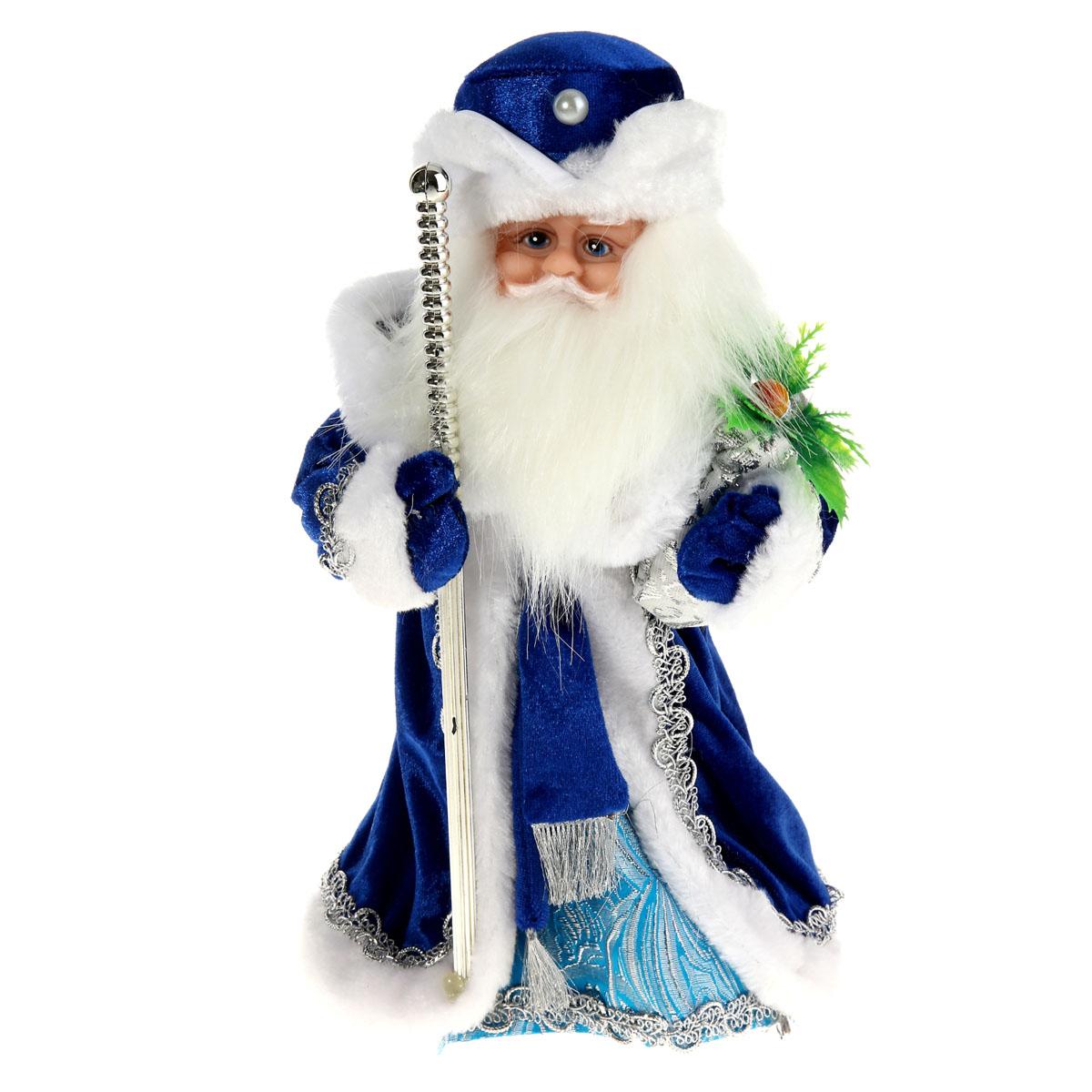 Новогодняя декоративная фигурка Sima-land Дед Мороз, анимированная, высота 28 см. 827839827839Новогодняя декоративная фигурка Деда Мороза выполнена из высококачественного пластика. Дед Мороз одет в шубу с опушкой, украшенную тесьмой и варежки. На голове - шапка в цвет шубы. В одной руке Дед Мороз держит посох, а в другой мешок - с подарками. Игрушка стоит на пластиковой подставке. Особенностью фигурки является наличие механизма, при включении которого играет мелодия, а голова и руки куклы начинают двигаться. Его добрый вид и очаровательная улыбка притягивают к себе восторженные взгляды. Декоративная фигурка Дед Мороз подойдет для оформления новогоднего интерьера и принесет с собой атмосферу радости и веселья. УВАЖАЕМЫЕ КЛИЕНТЫ! Обращаем ваше внимание на тот факт, что декоративная фигурка работает от трех батареек типа АА напряжением 1,5 В. Батарейки в комплект не входят.