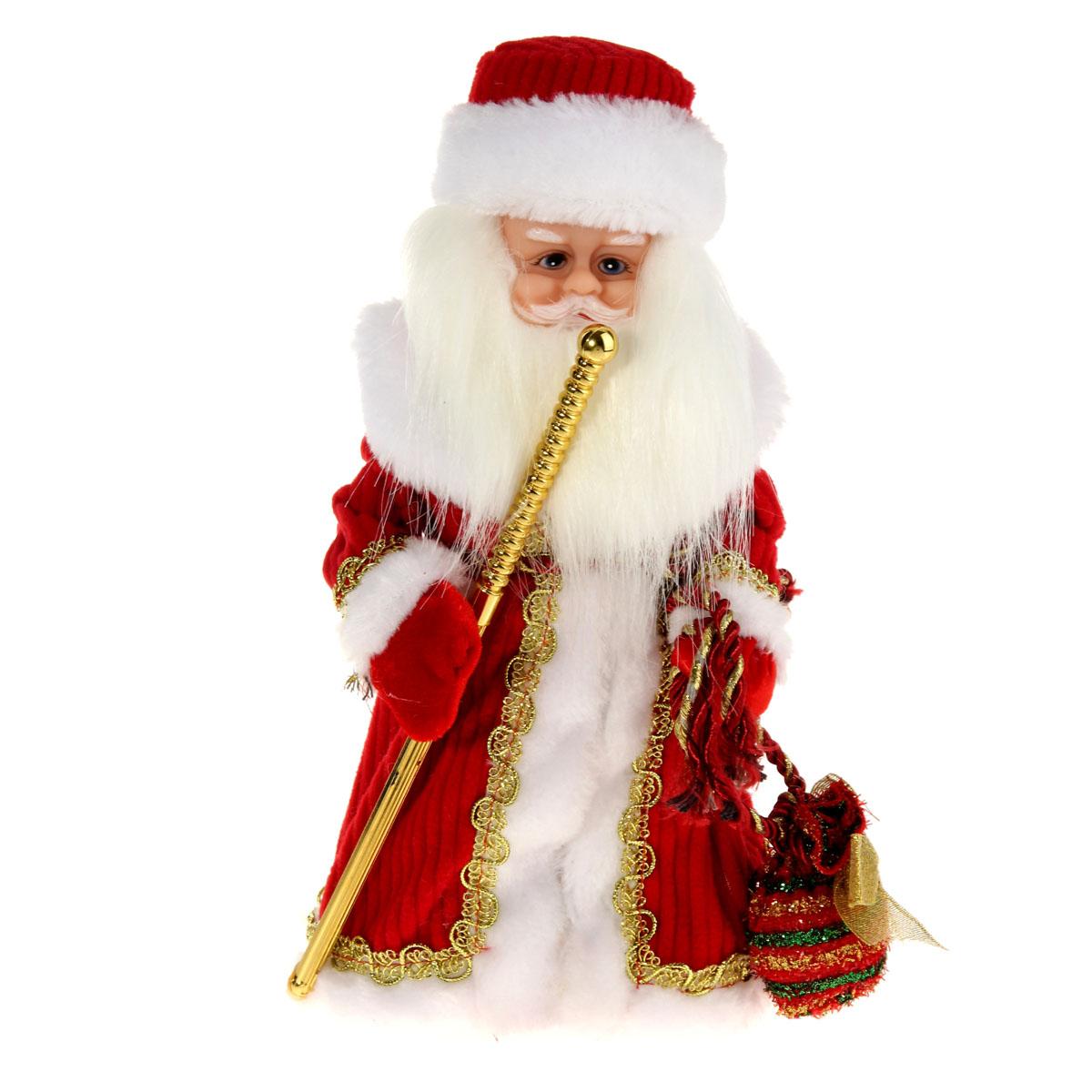 Новогодняя декоративная фигурка Sima-land Дед Мороз, анимированная, высота 28 см. 827840827840Новогодняя декоративная фигурка Sima-land выполнена из высококачественного пластика в виде Деда Мороза. Дед Мороз одет в шубу с опушкой, украшенную тесьмой и варежки. На голове шапка в цвет шубы. В одной руке Дед Мороз держит посох, а в другой мешок с подарками. Игрушка стоит на пластиковой подставке. Особенностью фигурки является наличие механизма, при включении которого играет мелодия, а голова и руки куклы начинают двигаться. Его добрый вид и очаровательная улыбка притягивают к себе восторженные взгляды. Декоративная фигурка Дед Мороз подойдет для оформления новогоднего интерьера и принесет с собой атмосферу радости и веселья. УВАЖАЕМЫЕ КЛИЕНТЫ! Обращаем ваше внимание на тот факт, что декоративная фигурка работает от трех батареек типа АА напряжением 1,5V. Батарейки в комплект не входят.