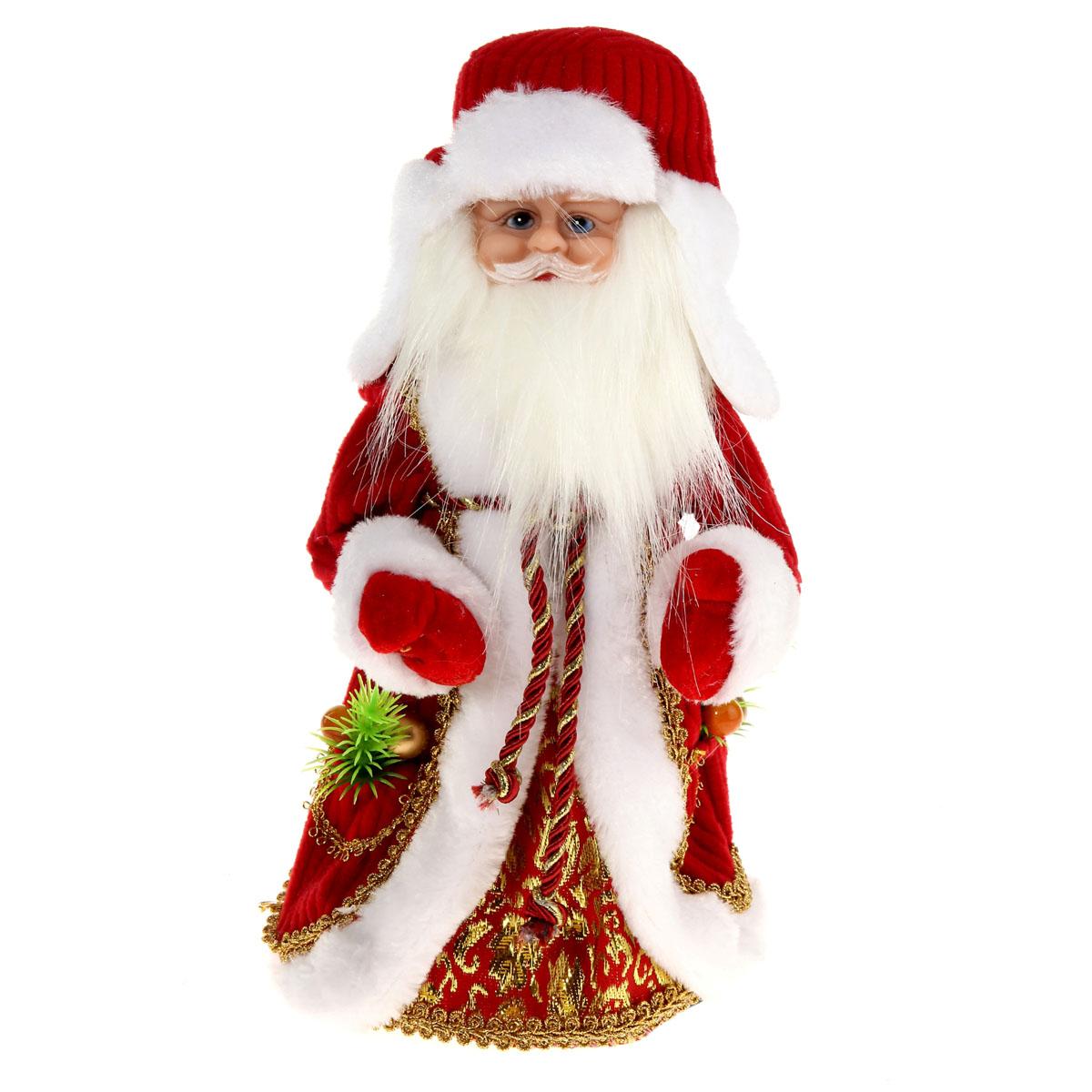 Новогодняя декоративная фигурка Sima-land Дед Мороз, анимированная, высота 30 см. 827842827842Новогодняя декоративная фигурка Sima-land выполнена из высококачественного пластика в виде Деда Мороза. Дед Мороз одет в шубу с капюшоном и опушкой, украшенную тесьмой и варежки. На голове шапка в цвет шубы. Игрушка стоит на пластиковой подставке. Особенностью фигурки является наличие механизма, при включении которого играет мелодия, а голова и руки куклы начинают двигаться. Его добрый вид и очаровательная улыбка притягивают к себе восторженные взгляды. Декоративная фигурка Дед Мороз подойдет для оформления новогоднего интерьера и принесет с собой атмосферу радости и веселья. УВАЖАЕМЫЕ КЛИЕНТЫ! Обращаем ваше внимание на тот факт, что декоративная фигурка работает от трех батареек типа АА напряжением 1,5В. Батарейки в комплект не входят.