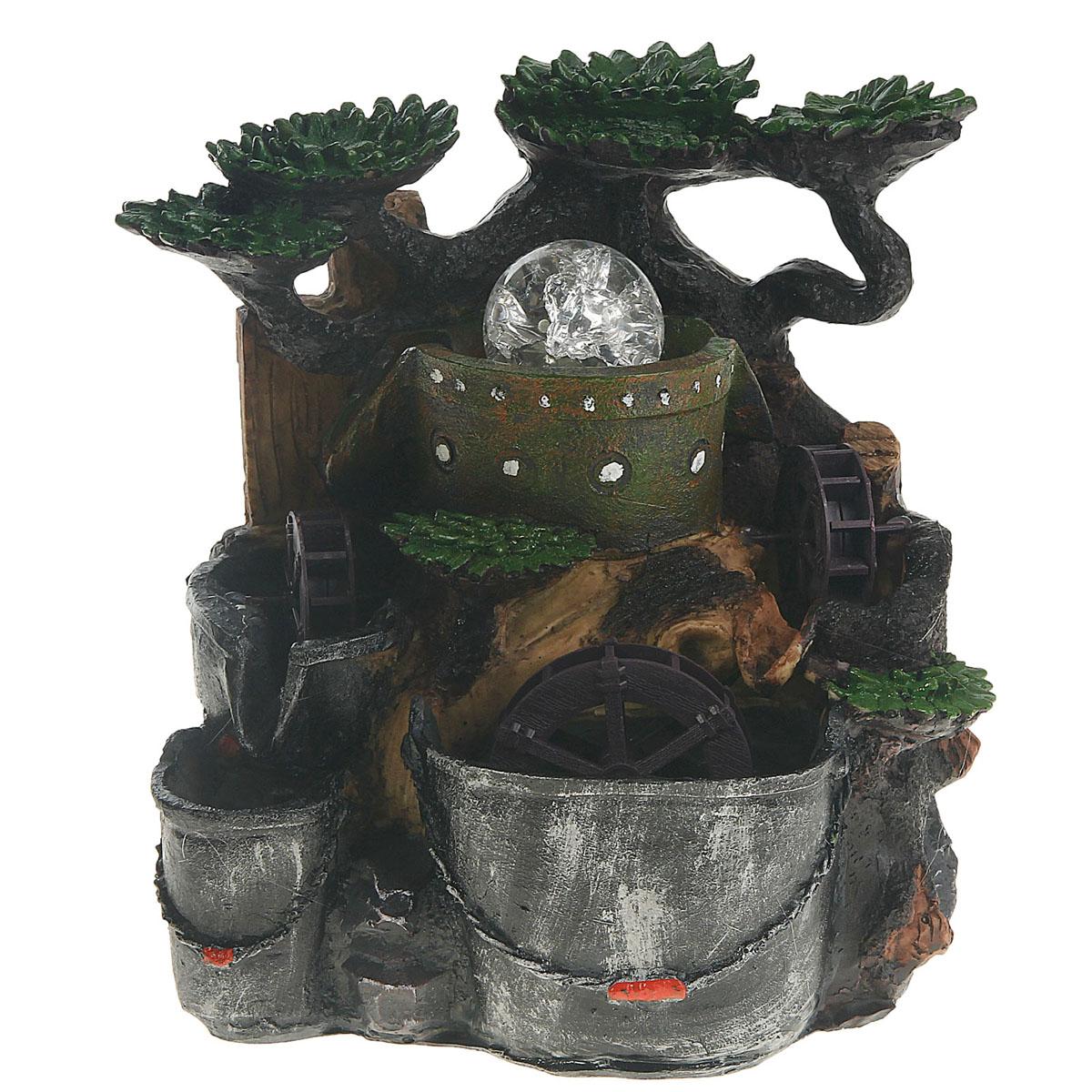 Фонтан Sima-land Мельница. Три мельницы851097Фонтан Sima-land Мельница. Три мельницы, изготовленный из полистоуна, украсит интерьер любого помещения. Изделие выполнено в виде композиции из деревьев, ведер, бочки и трех водяных мельниц. Вода спускается с бочки вниз, раскручивая мельницы. Сверху на источнике помещается стеклянный шар, который подсвечивается светодиодами и левитирует над водой при включении фонтана. Журчание и вид воды, стекающей струями из миниатюрного фонтана и искрящейся на солнце, могут изменить облик вашего дома и сада, создавая атмосферу покоя. Фонтан работает при помощи электрического погружного центробежного насоса, входящего в комплект. Интерьерный фонтан хорошо увлажняет воздух, благотворно воздействуя на наш организм и создавая здоровый климат. УВАЖАЕМЫЕ КЛИЕНТЫ! Обращаем ваше внимание на то, что фонтан работает от сети 220V. Размер фонтана: 24 см х 21 см х 23 см. Длина провода: 145 см.