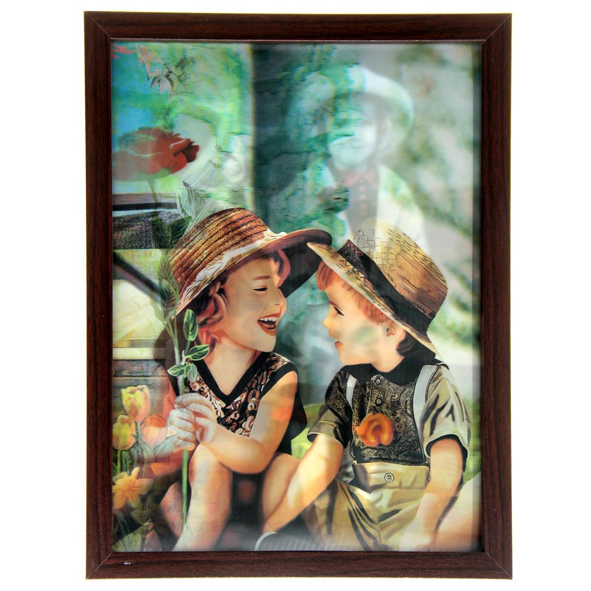 Картина объемная Sima-land Детишки на лавочке, 30 х 40 см853091