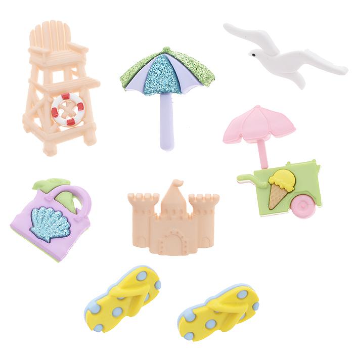 Набор пуговиц и фигурок Dress It Up Отдых на море, 8 шт. 77040377704037Набор Dress It Up Отдых на море состоит из 8 декоративных пуговиц и фигурок, выполненных из пластика в виде вещей, с которыми ассоциируется отдых на море. Такие пуговицы и фигурки подходят для любых видов творчества: скрапбукинга, декорирования, шитья, изготовления кукол, а также для оформления одежды. С их помощью вы сможете украсить открытку, фотографию, альбом, подарок и другие предметы ручной работы. Пуговицы и фигурки разных цветов имеют оригинальный и яркий дизайн.