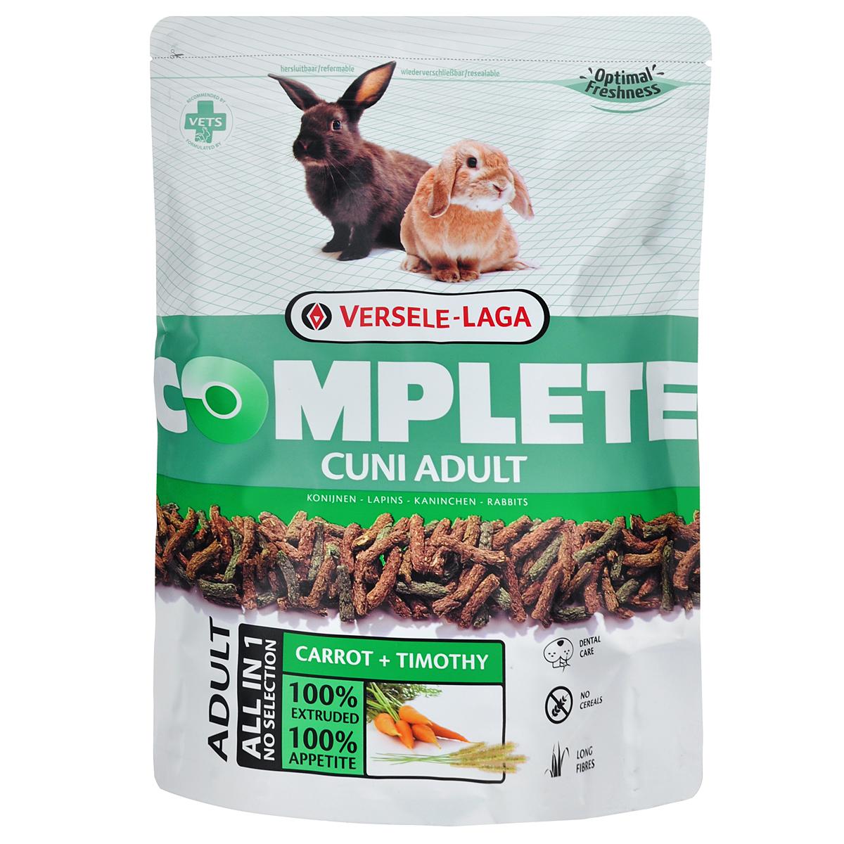 Корм для кроликов Versele-Laga Complete Cuni Adult, комплексный, 500 г461250Versele-Laga Complete Cuni Adult - это полноценный и вкусный корм для (карликовых) кроликов, состоящий на 100 % из легкоусвояемых экструдированных гранул. Уход за зубами Проблемы с зубами часто встречаются у (карликовых) кроликов. Обычно это следствие применения неподходящего корма, в котором не хватает ингредиентов, способствующих естественному стачиванию и постоянному росту зубов. Добавление специальных длинных волокон клетчатки в гранулы Versele-Laga Complete Cuni Adult способствует жевательному процессу, обеспечивая необходимое стачивание зубов и здоровье полости рта. Свежие овощи Процесс экструзии позволяет добавлять свежие овощи в гранулы. Добавление по крайней мере 10 % свежих овощей позволяет получить замечательный вкус. Смешивая овощи с клетчаткой с основой Cuni Complete мы получаем замечательный корм для (карликовых) кроликов с высокой степенью усвояемости. Длинные волокна (Карликовые) кролики - это...
