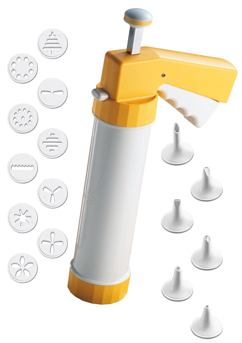 Шприц кондитерский для печенья Dr.Oetker, 6 насадок, 10 дисков1631Кондитерский шприц для печенья Dr.Oetker, изготовленный из пластика, предназначен для помещения и выдавливания разных кремов, в основном служащих для украшения печенья. В наборе к шприцу прилагается 6 насадок и 10 дисков, имеющих разное сечение и профиль. Кондитерский шприц - превосходный инструмент, который облегчает и ускоряет процесс выпечки печенья, бисквитов, пряников и т.д., идеален для украшения десертов и пирогов сливками или заварным кремом, для заполнения пончиков джемом, а также для украшения бутербродов, тостов и канапе паштетом, маслом, плавленым сыром. Праздничный стол требует особого внимания! Благодаря удивительному помощнику - кондитерскому шприцу вы быстро и легко приготовите выпечку любой формы, какой только пожелаете.