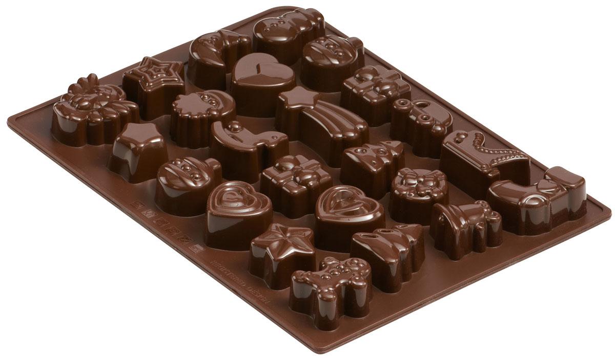 Форма для шоколада и льда Dr.Oetker Confiserie, цвет: коричневый, 24 ячейки. 21912191Форма Dr.Oetker Confiserie выполнена из высококачественного пищевого силикона и предназначена для изготовления шоколада, конфет, мармелада, желе, льда и выпечки. На одном листе расположено 24 ячейки в виде различных новогодних игрушек. Благодаря тому, что форма изготовлена из силикона, готовый десерт вынимать легко и просто. Силиконовые формы выдерживают высокие и низкие температуры (от -40°С до + 230°С). Они эластичны, износостойки, легко моются, не горят и не тлеют, не впитывают запахи, не оставляют пятен. Силикон абсолютно безвреден для здоровья. Чтобы достать льдинки, эту форму не нужно держать под теплой водой или использовать нож. Можно мыть в посудомоечной машине.