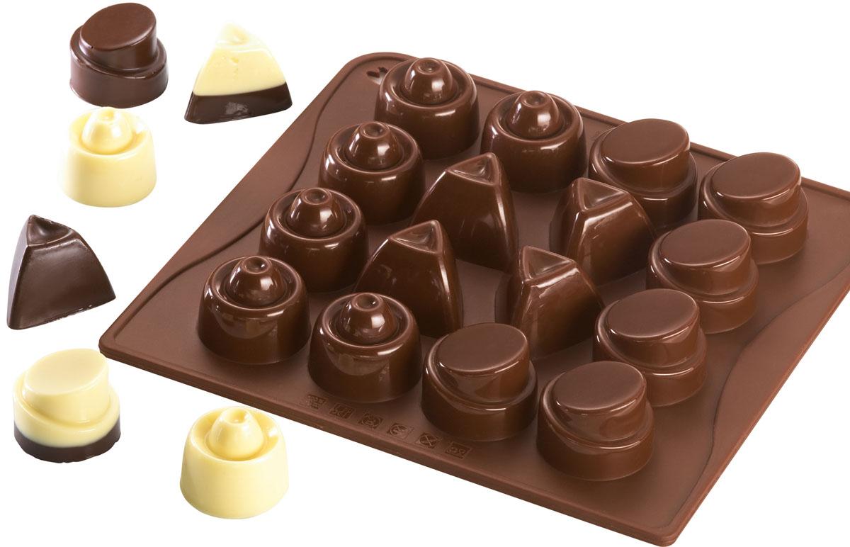 Форма для шоколада и льда Dr.Oetker Confiserie, цвет: коричневый, 16 ячеек. 24672467Форма Dr.Oetker Confiserie выполнена из высококачественного пищевого силикона и предназначена для изготовления шоколада, конфет, мармелада, желе, льда и выпечки. На одном листе расположено 16 ячеек в виде кругов и треугольников разного дизайна. Благодаря тому, что форма изготовлена из силикона, готовый десерт вынимать легко и просто. Силиконовые формы выдерживают высокие и низкие температуры (от -40°С до + 230°С). Они эластичны, износостойки, легко моются, не горят и не тлеют, не впитывают запахи, не оставляют пятен. Силикон абсолютно безвреден для здоровья. Чтобы достать льдинки, эту форму не нужно держать под теплой водой или использовать нож. Можно мыть в посудомоечной машине.